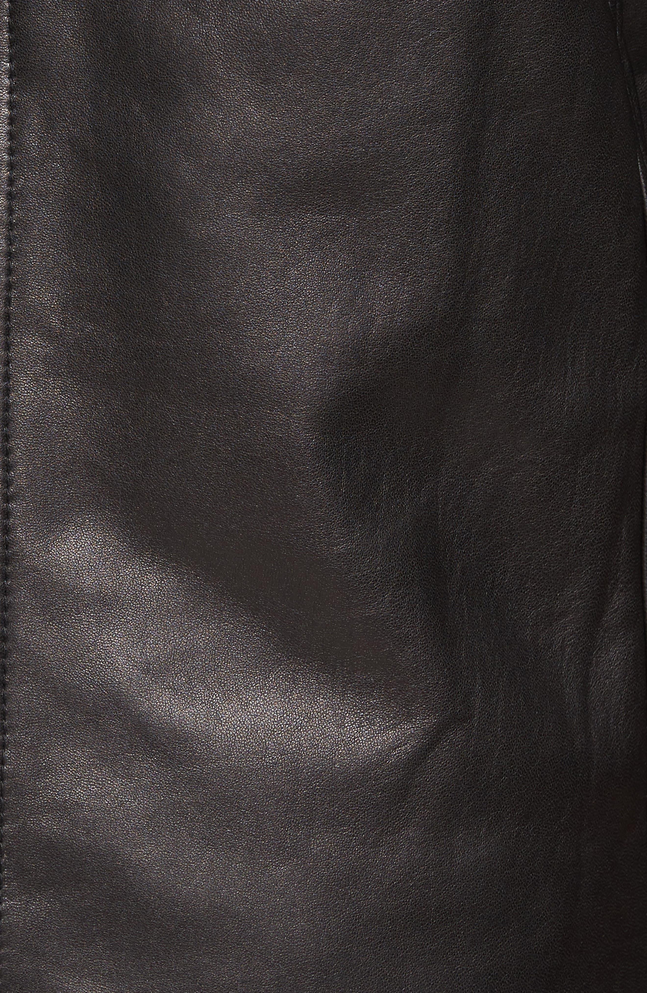 Lambskin Leather Jacket with Genuine Rabbit Fur Trim,                             Alternate thumbnail 9, color,