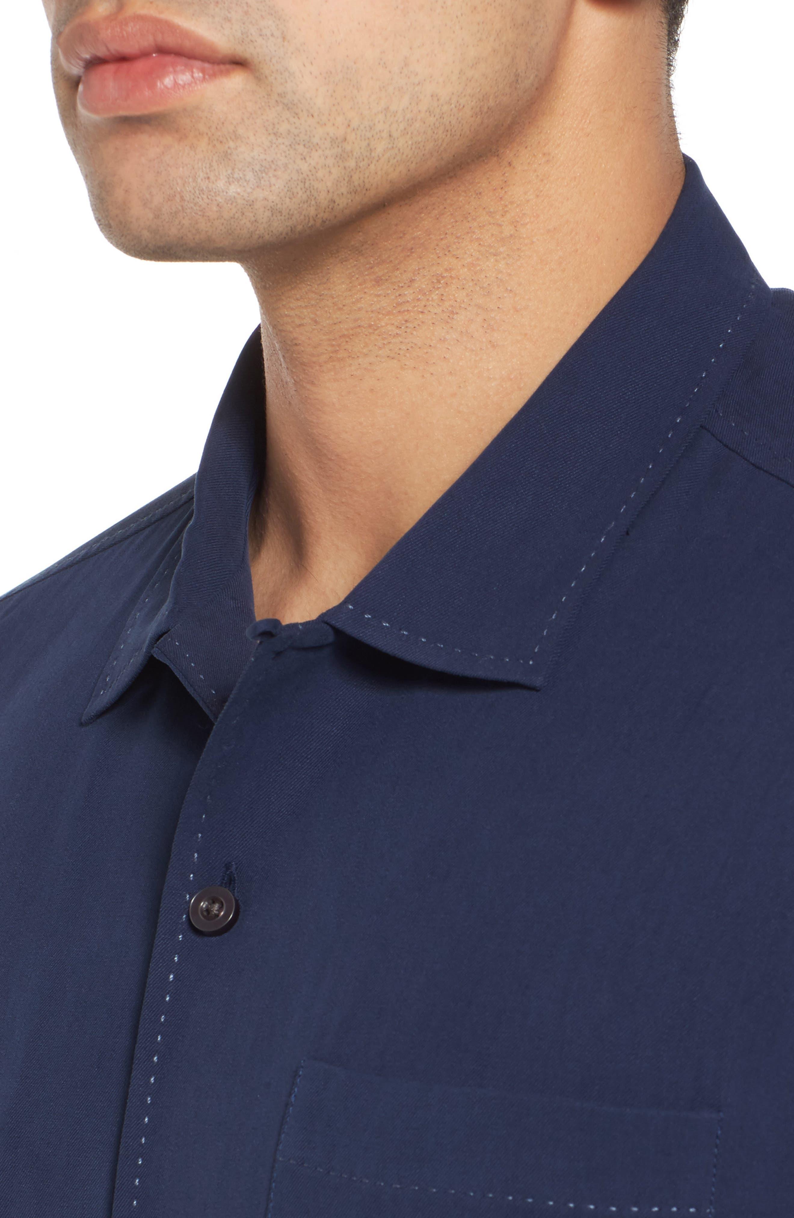 Catalina Silk Camp Shirt,                             Alternate thumbnail 4, color,                             NAVY