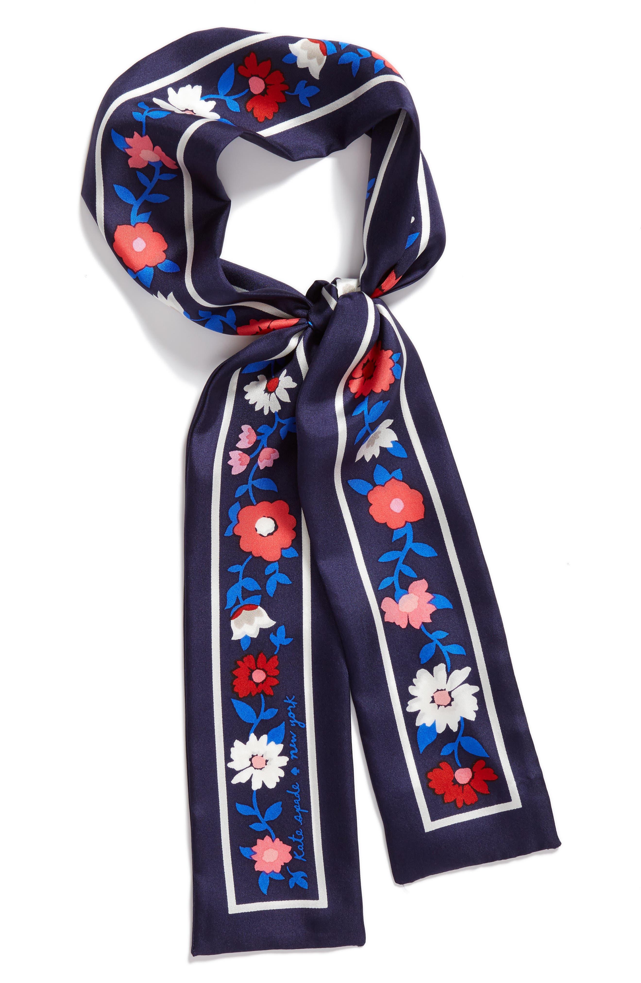 KATE SPADE NEW YORK,                             daisy skinny silk scarf,                             Alternate thumbnail 2, color,                             415