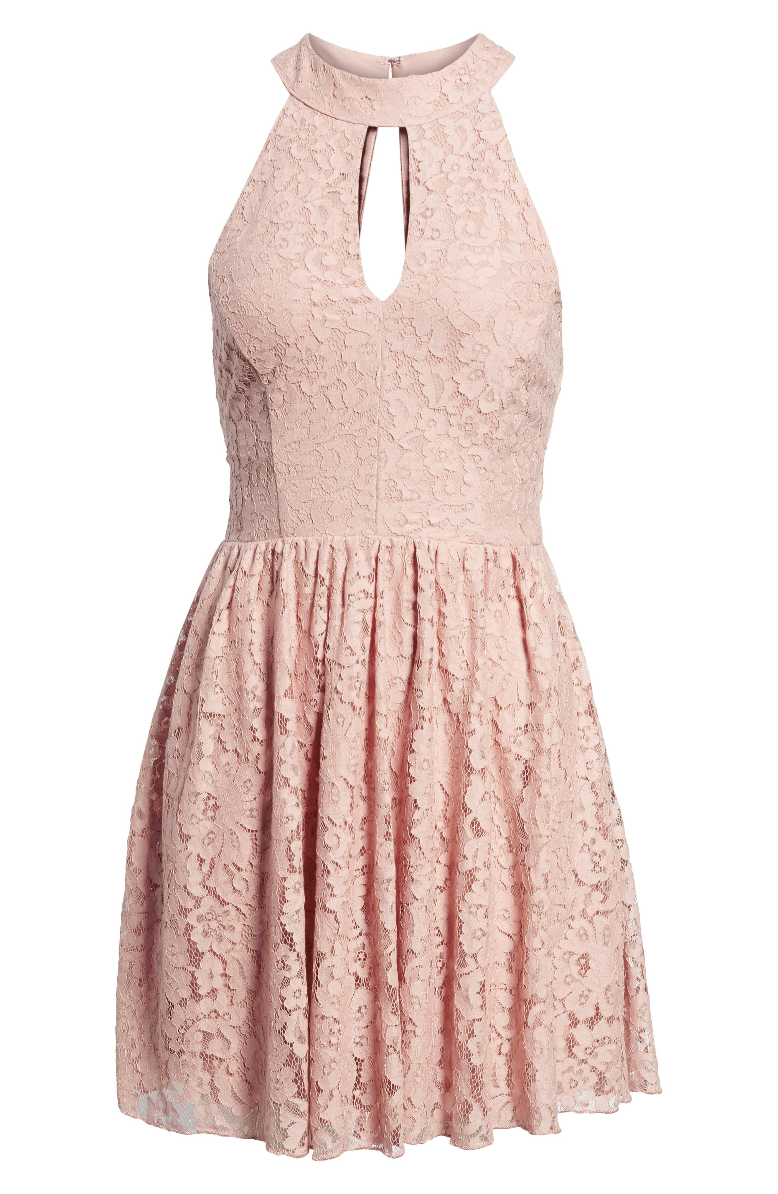 Gigi Lace Fit & Flare Dress,                             Alternate thumbnail 13, color,