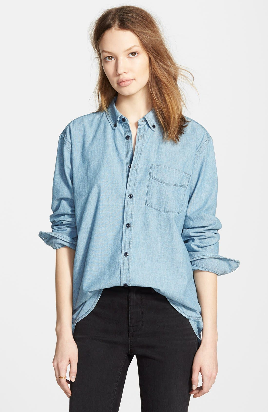 Oversize Chambray Shirt,                             Main thumbnail 1, color,