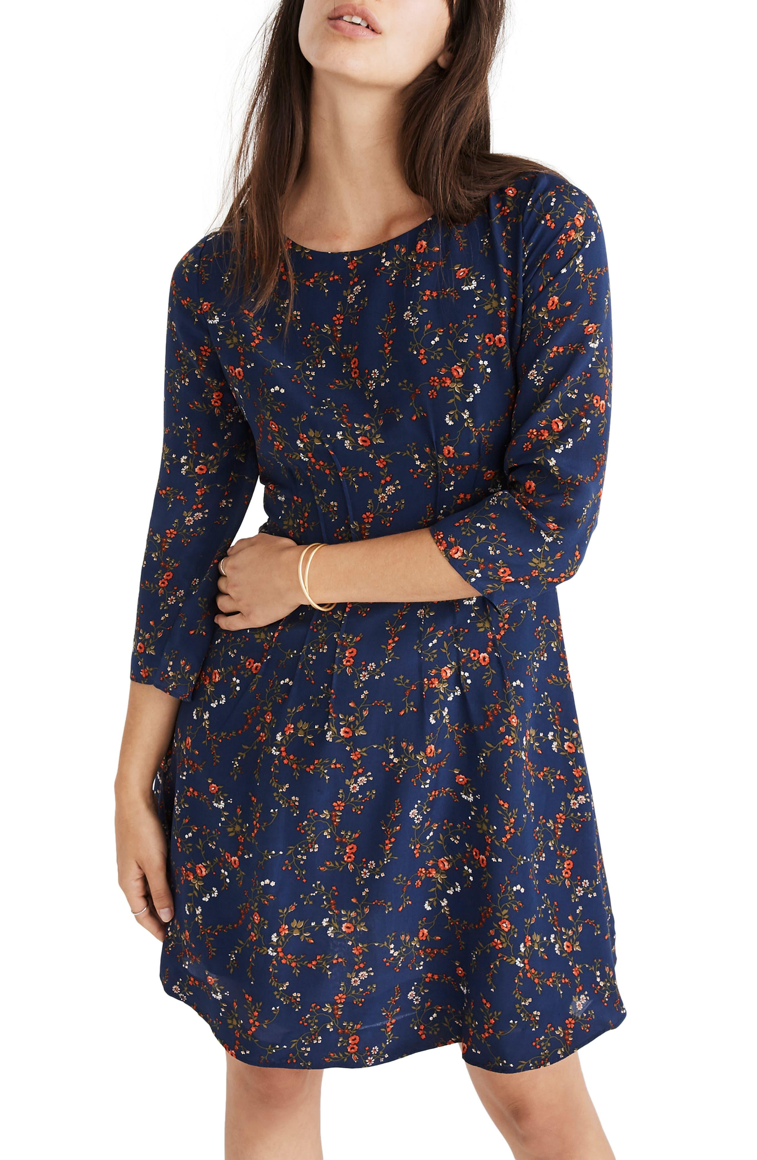 Boat Neck Pintuck Silk Dress,                             Main thumbnail 1, color,                             WHISPER MOONLESS NIGHT