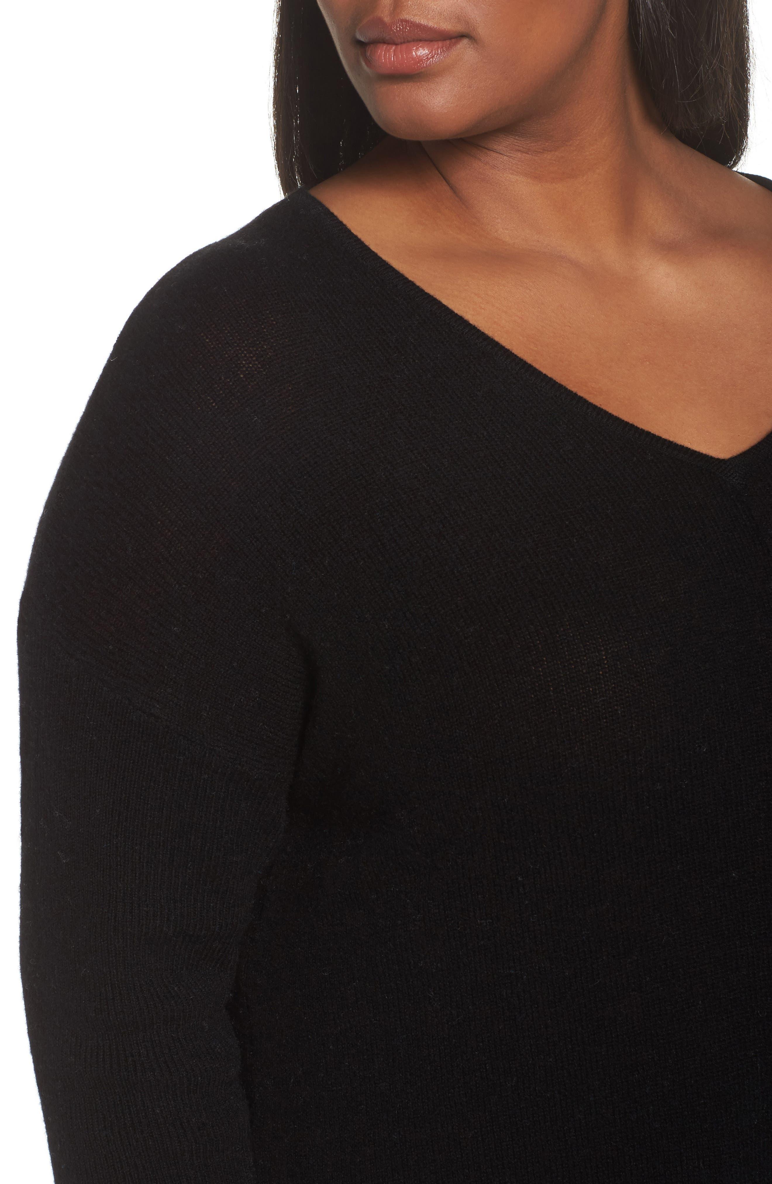 Easy V-Neck Wool & Cashmere Pullover,                             Alternate thumbnail 4, color,                             001