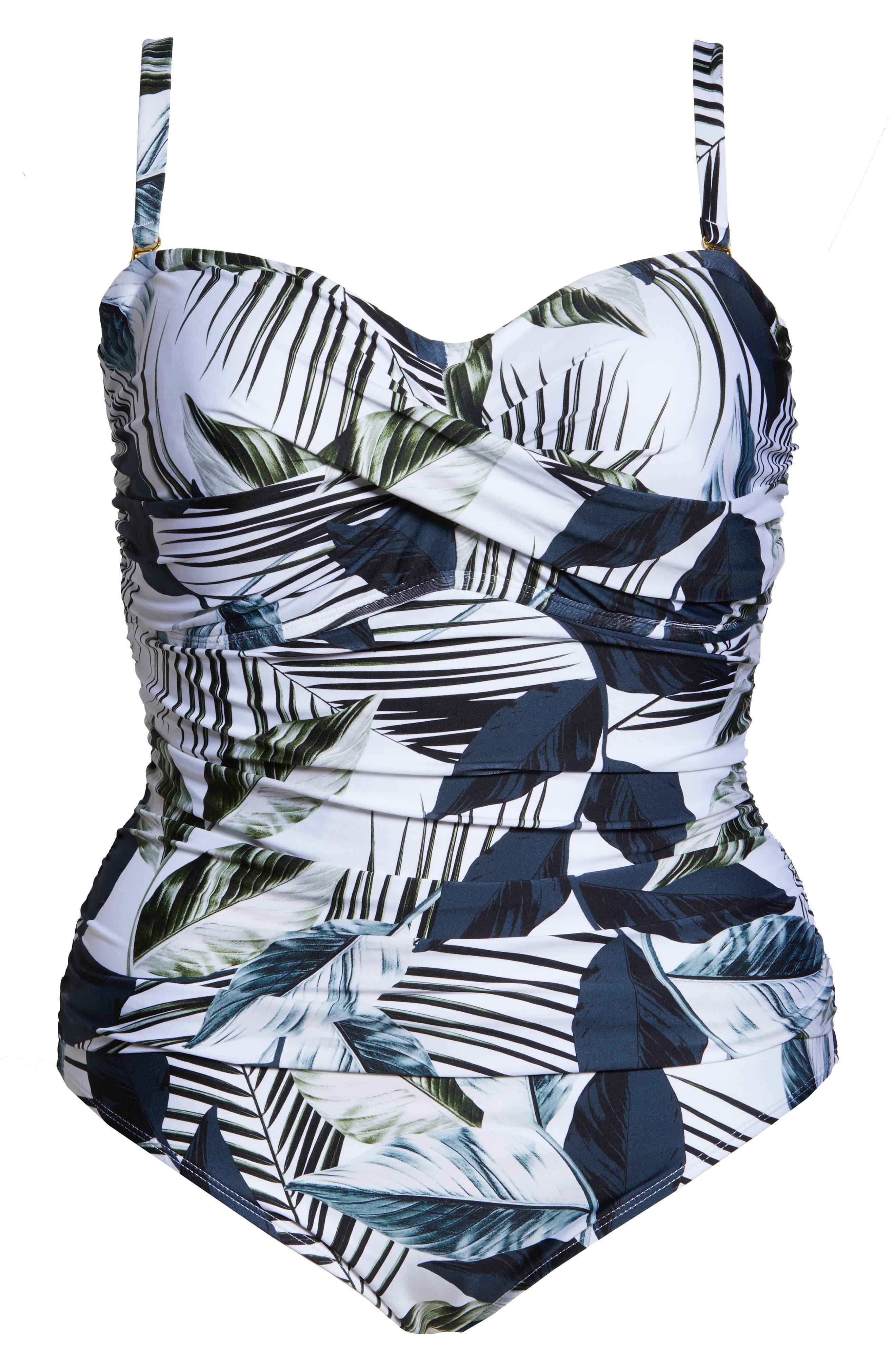 Bandeau One-Piece Swimsuit,                             Alternate thumbnail 7, color,                             BLUE
