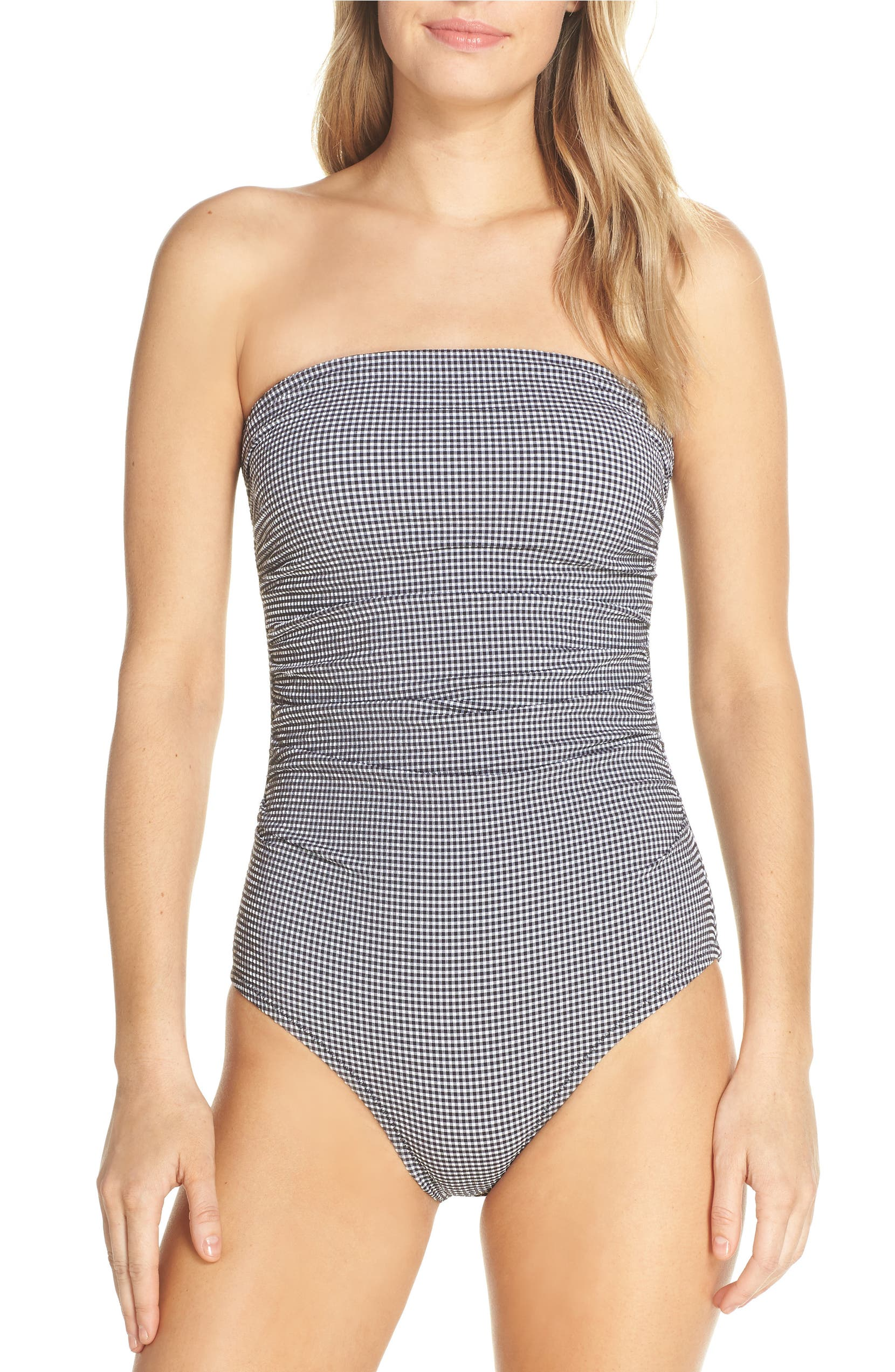5f42639707af8 J.Crew Gingham Ruched Bandeau One-Piece Swimsuit