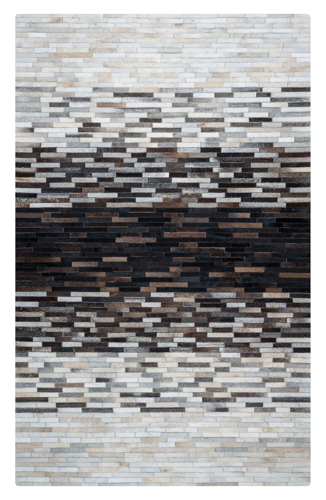 'Cumberland Pixel' Hand Sewn Leather Area Rug,                             Main thumbnail 2, color,