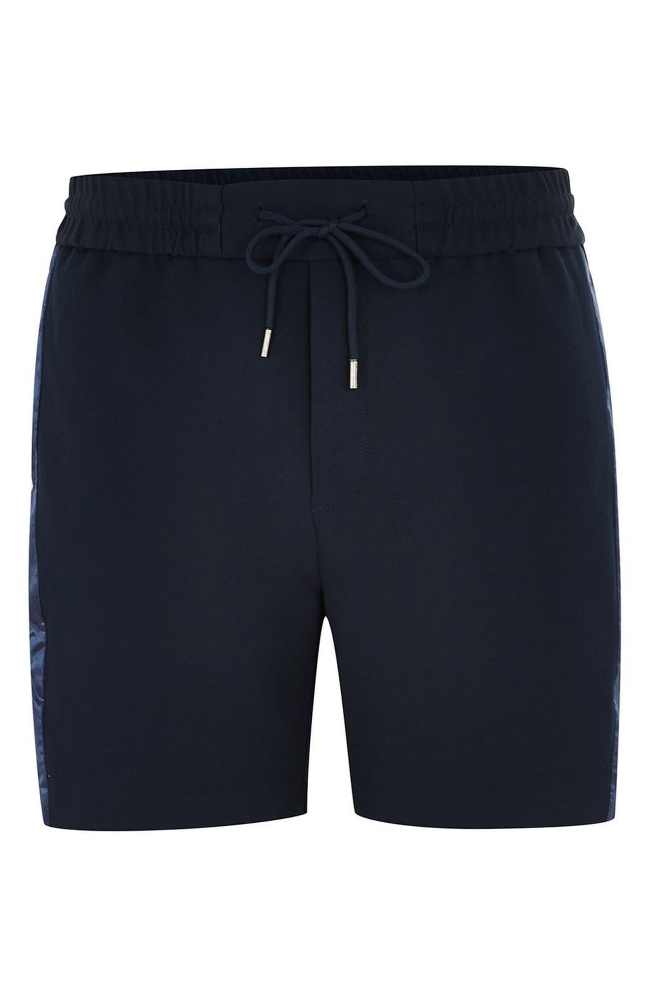 Satin Trim Shorts,                             Alternate thumbnail 4, color,                             NAVY BLUE