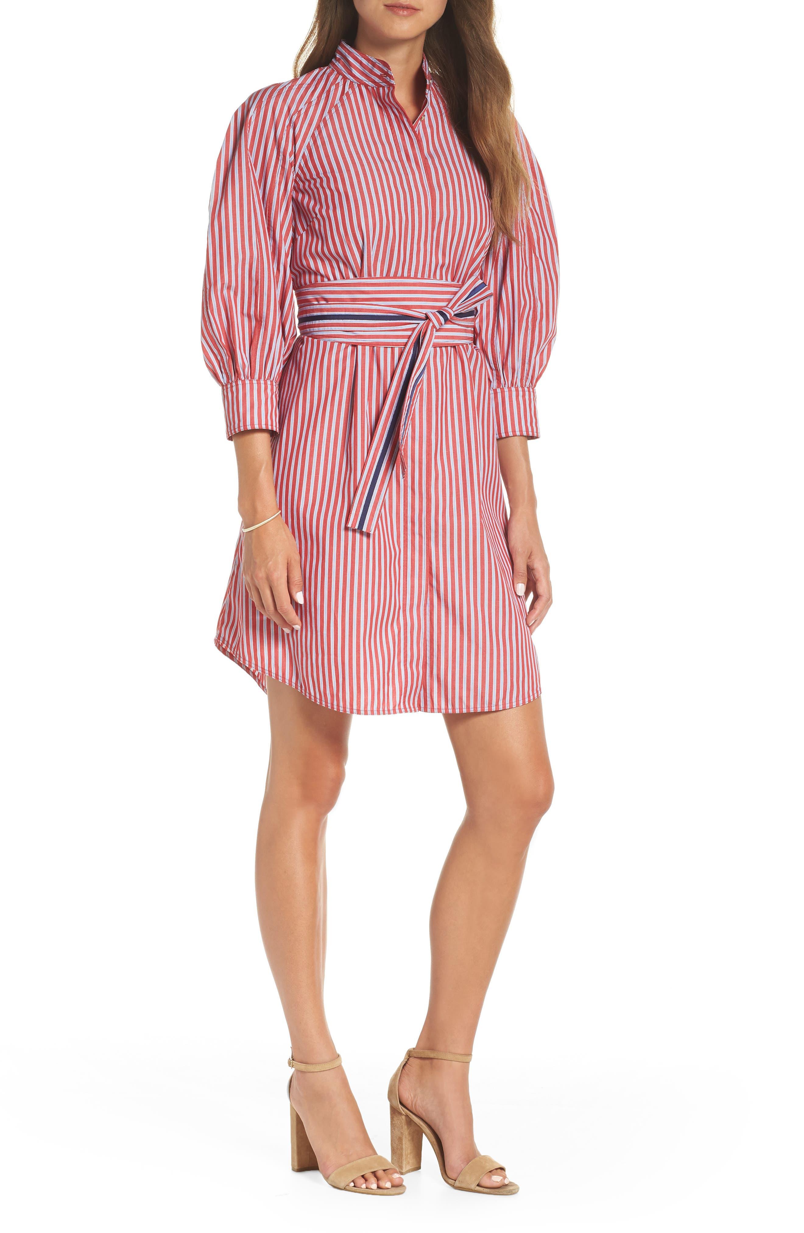 Stripe Tie Waist Shirtdress,                             Main thumbnail 1, color,                             600