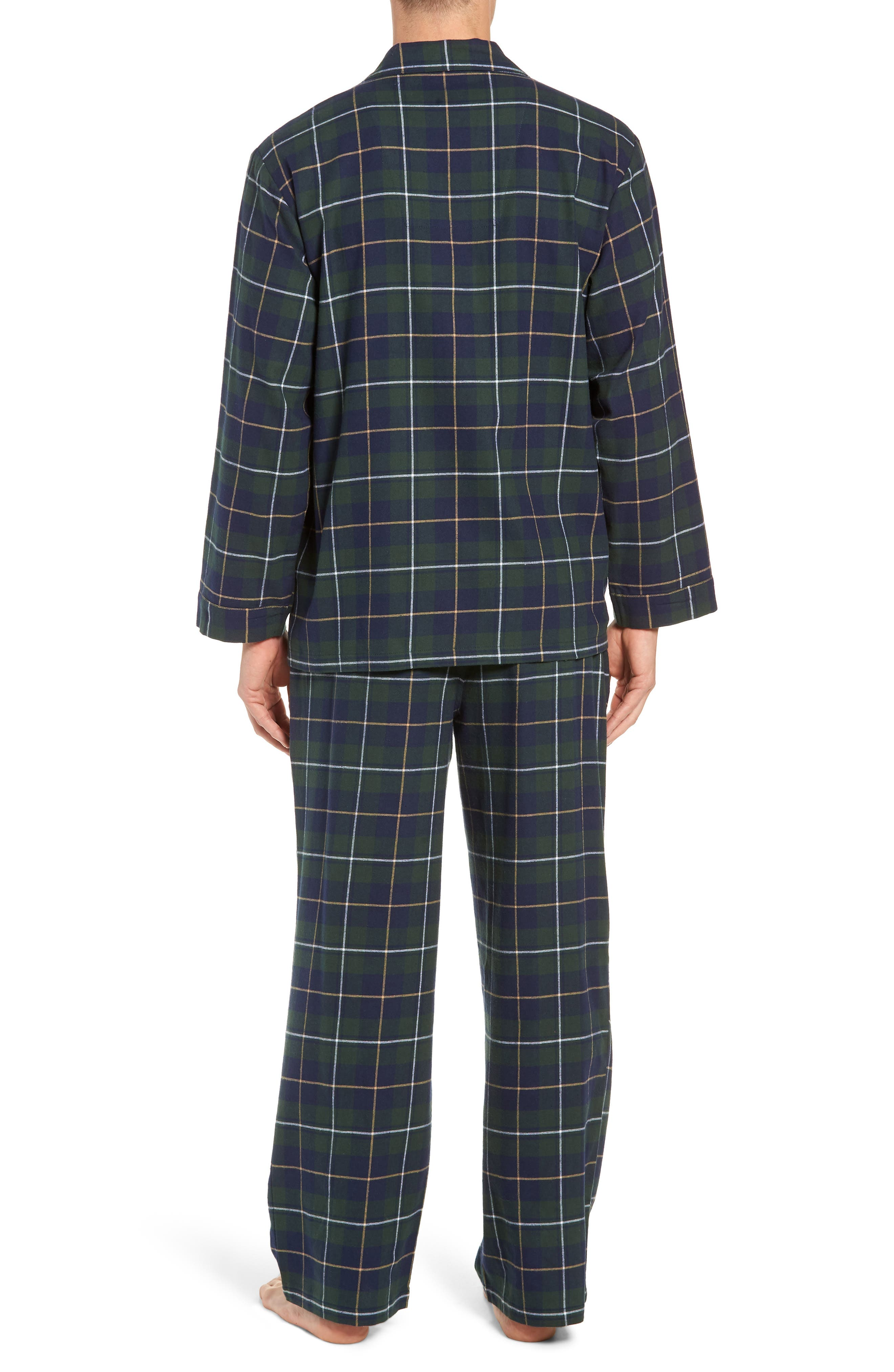 '824' Flannel Pajama Set,                             Alternate thumbnail 2, color,                             GREEN CHARCOAL FADED PLAID