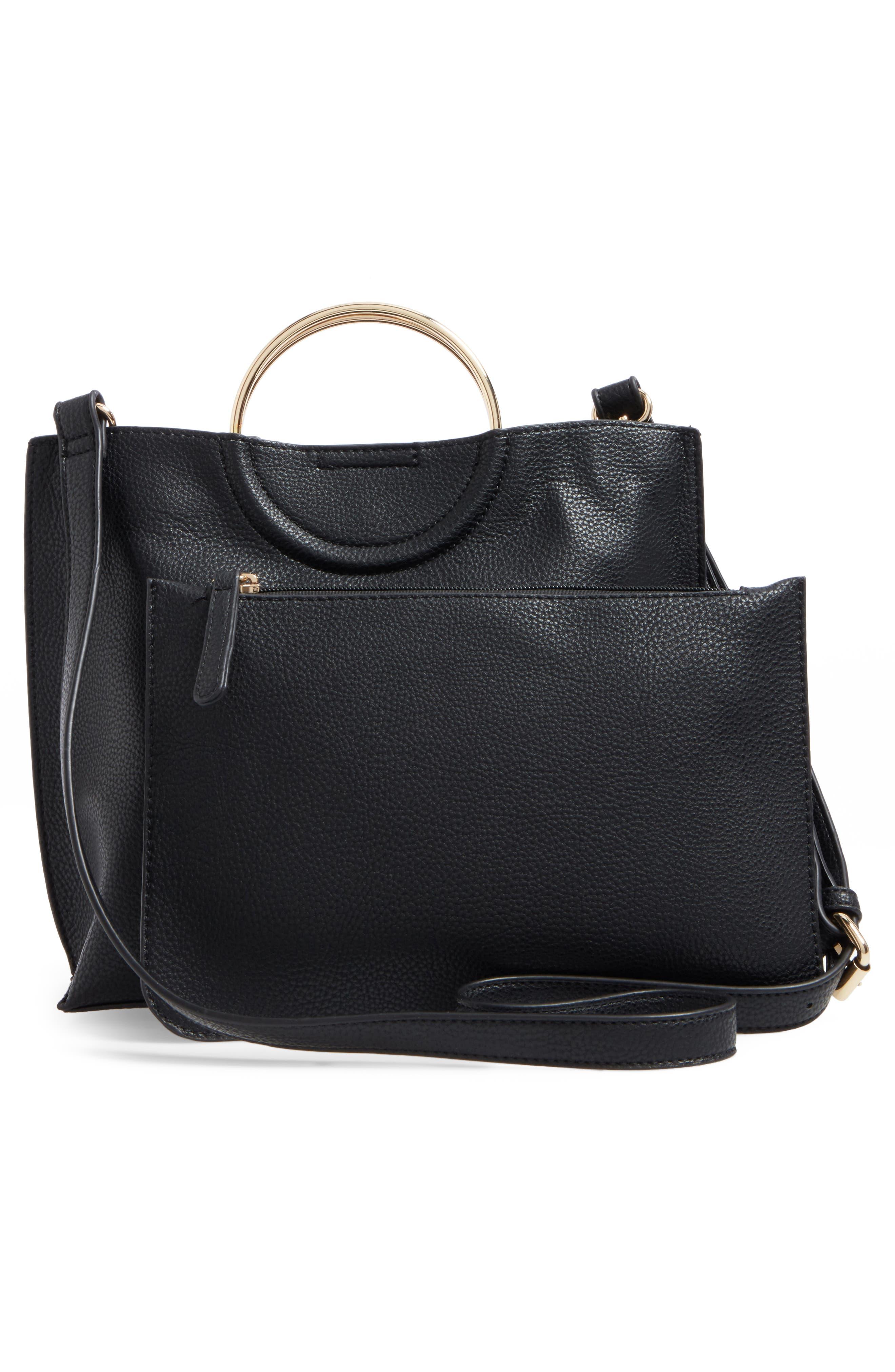 Metal Handle Faux Leather Crossbody Bag,                             Alternate thumbnail 8, color,