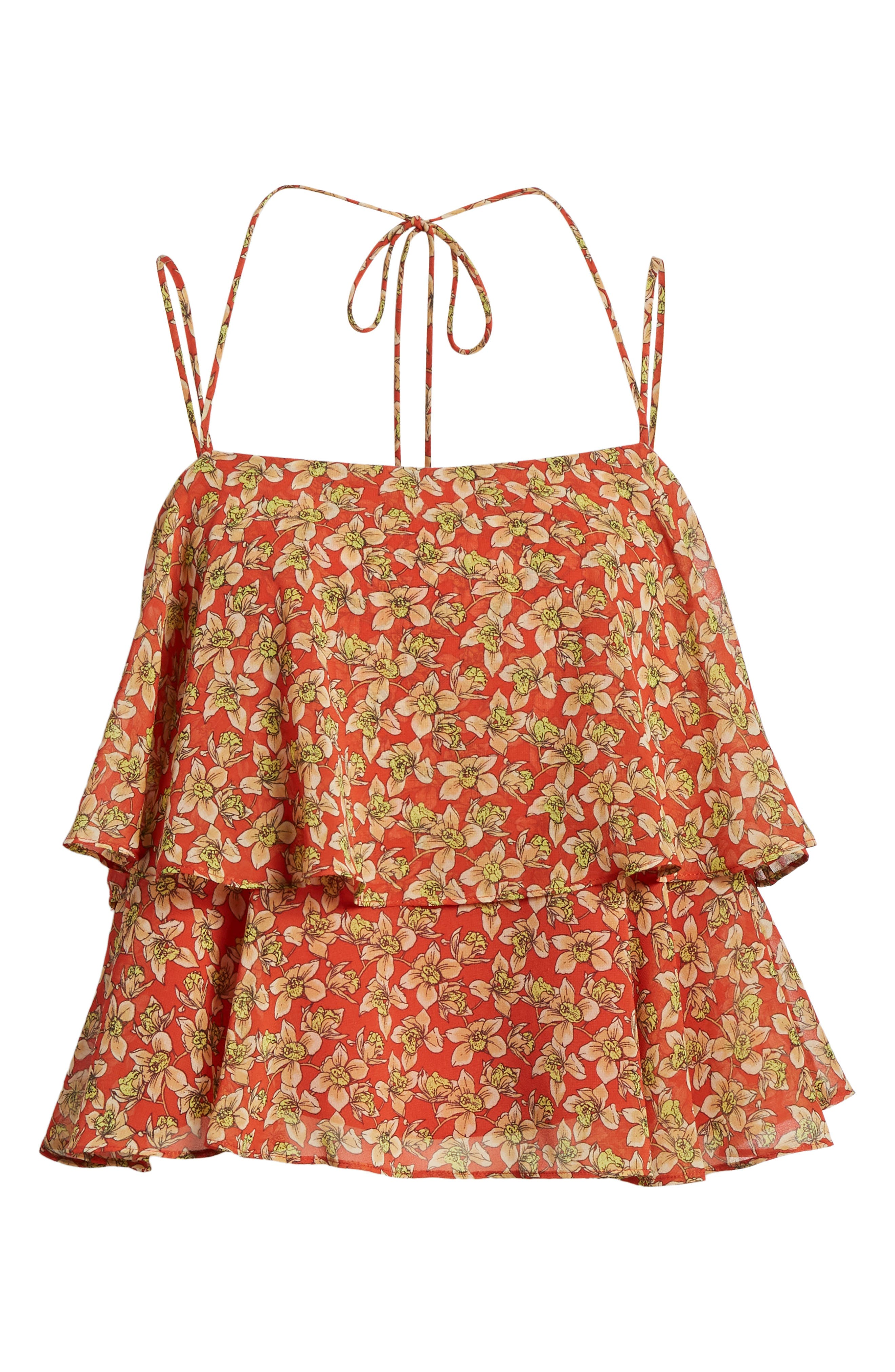 Cynthia Floral Tiered Top,                             Alternate thumbnail 7, color,                             RED MULTI