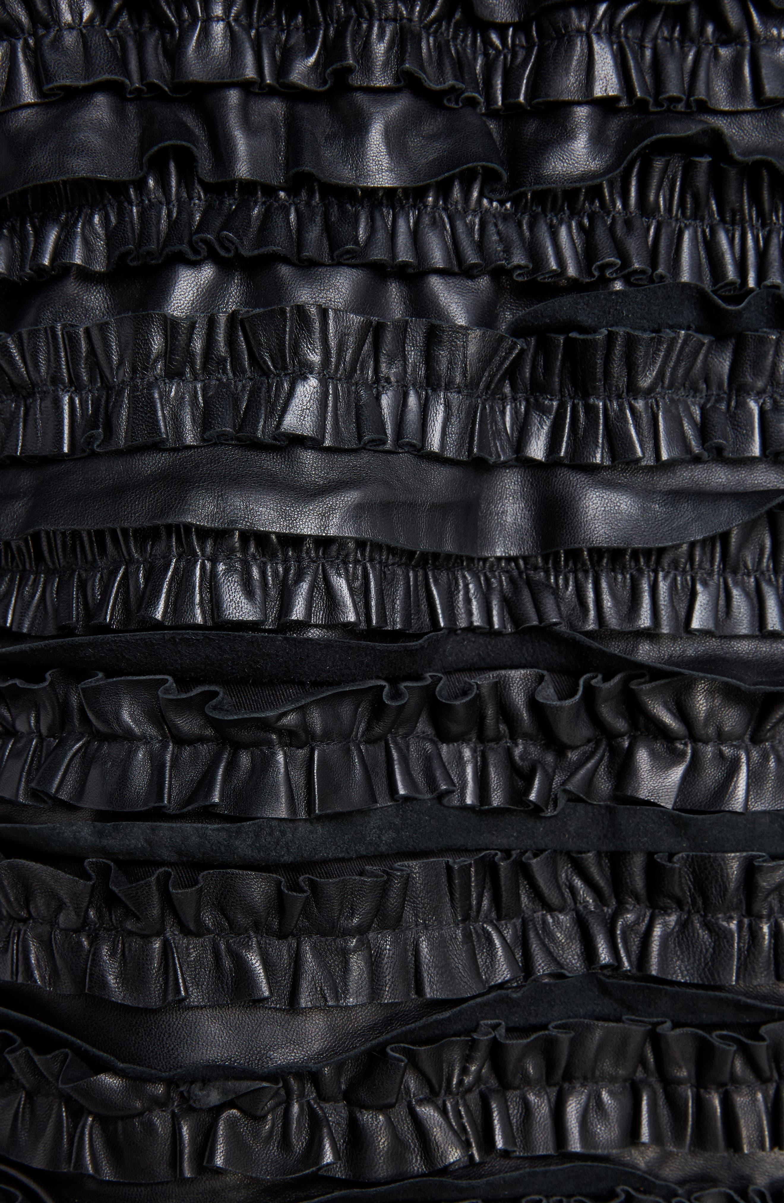 Isabel Marant Étoile Abella Frill Leather Jacket,                             Alternate thumbnail 6, color,