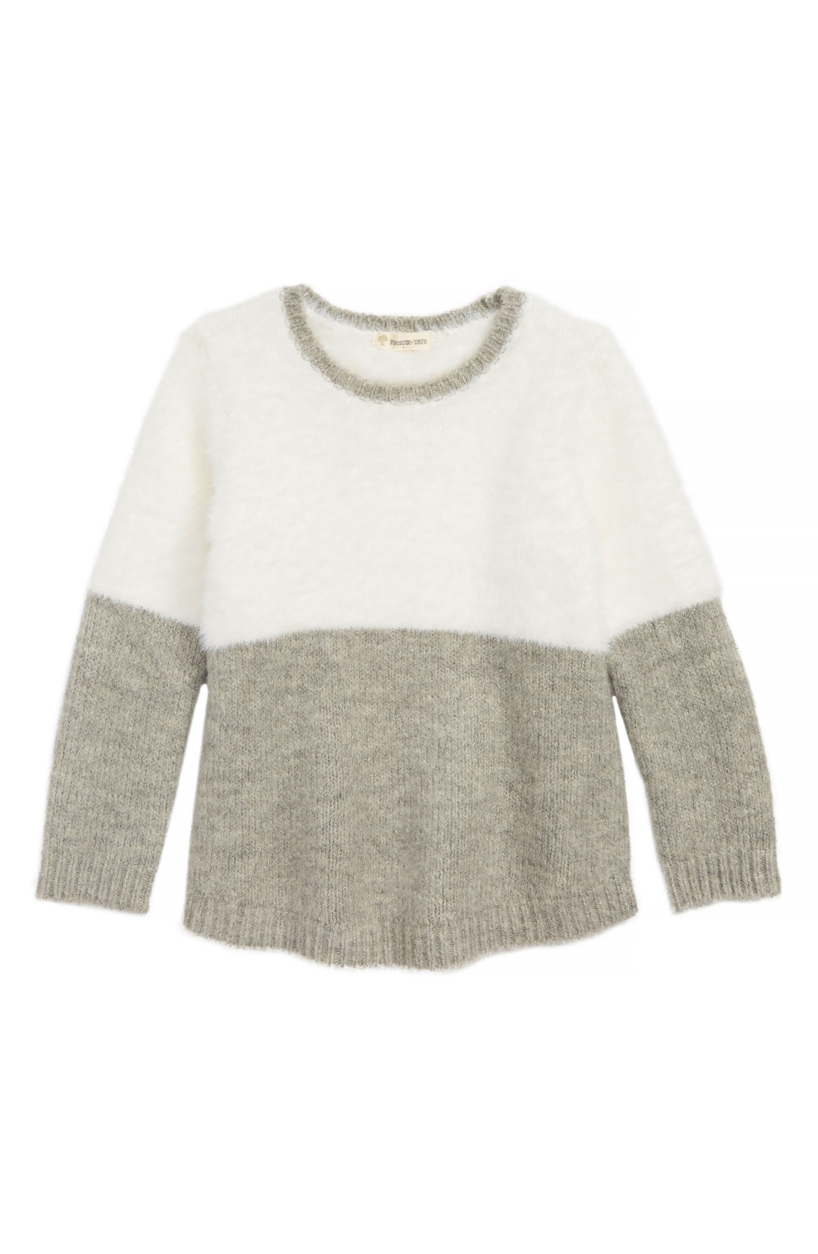 Fuzzy Colorblock Sweater,                             Main thumbnail 1, color,                             IVORY EGRET- GREY