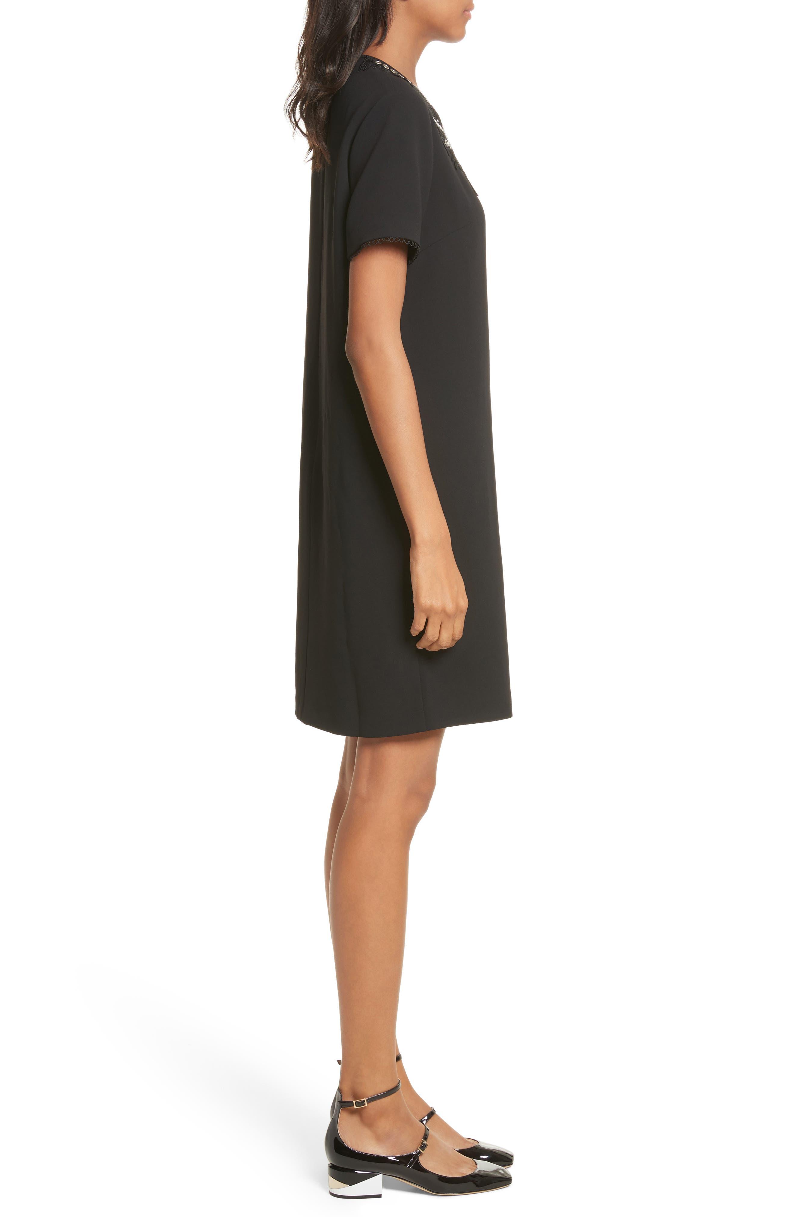 Embellished Crepe Dress,                             Alternate thumbnail 3, color,                             001