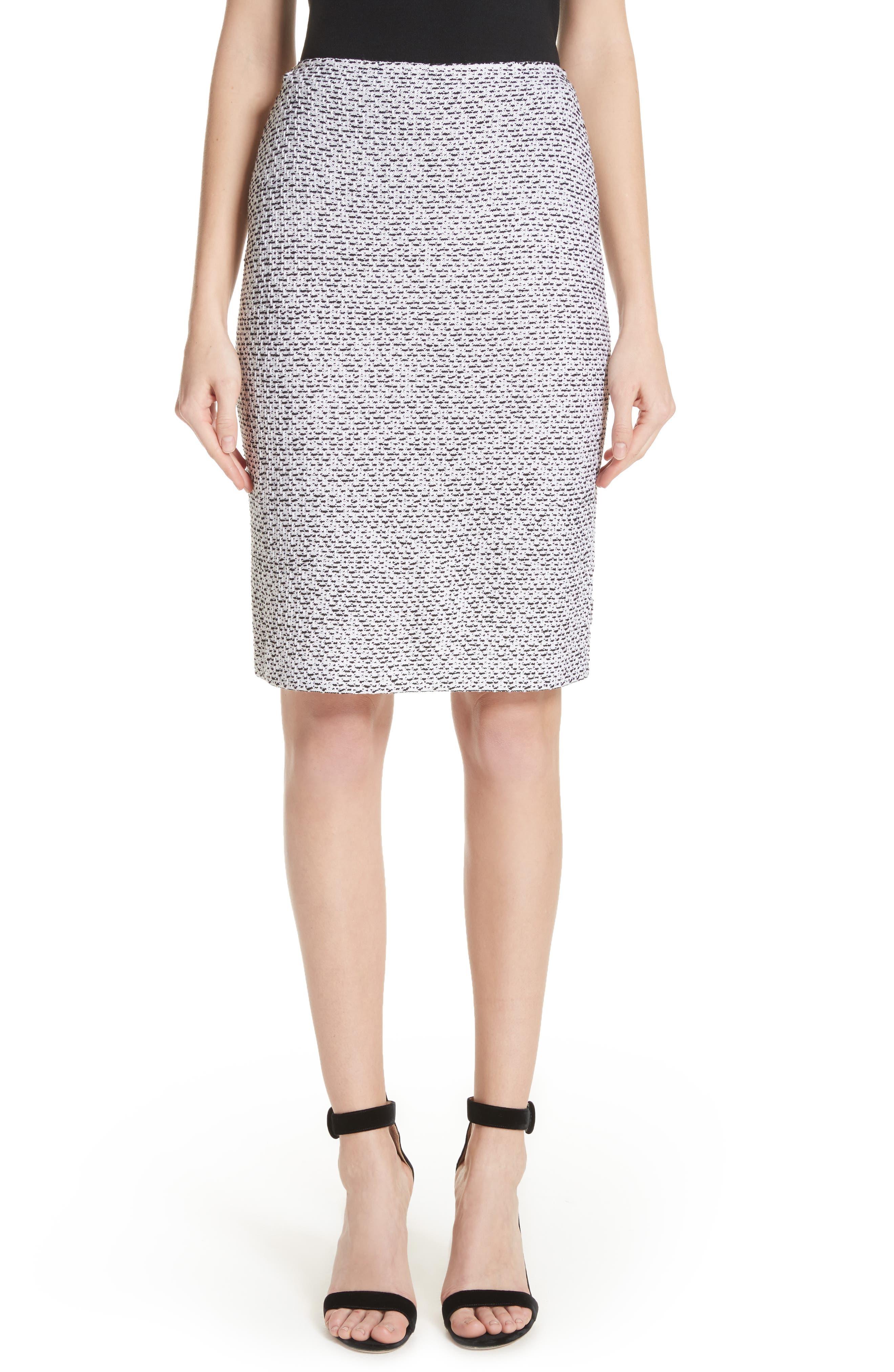 Olivia Bouclé Knit Skirt,                             Main thumbnail 1, color,                             WHITE/ CAVIAR