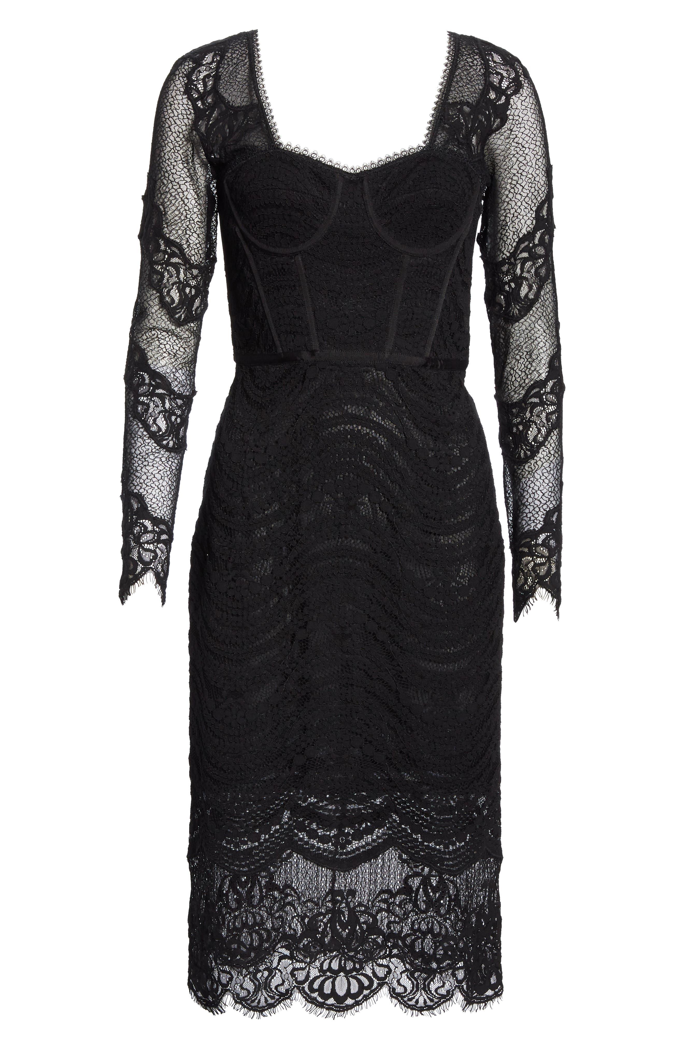 JONATHAN SIMKHAI,                             Lace Bustier Bodysuit Dress,                             Alternate thumbnail 7, color,                             BLACK