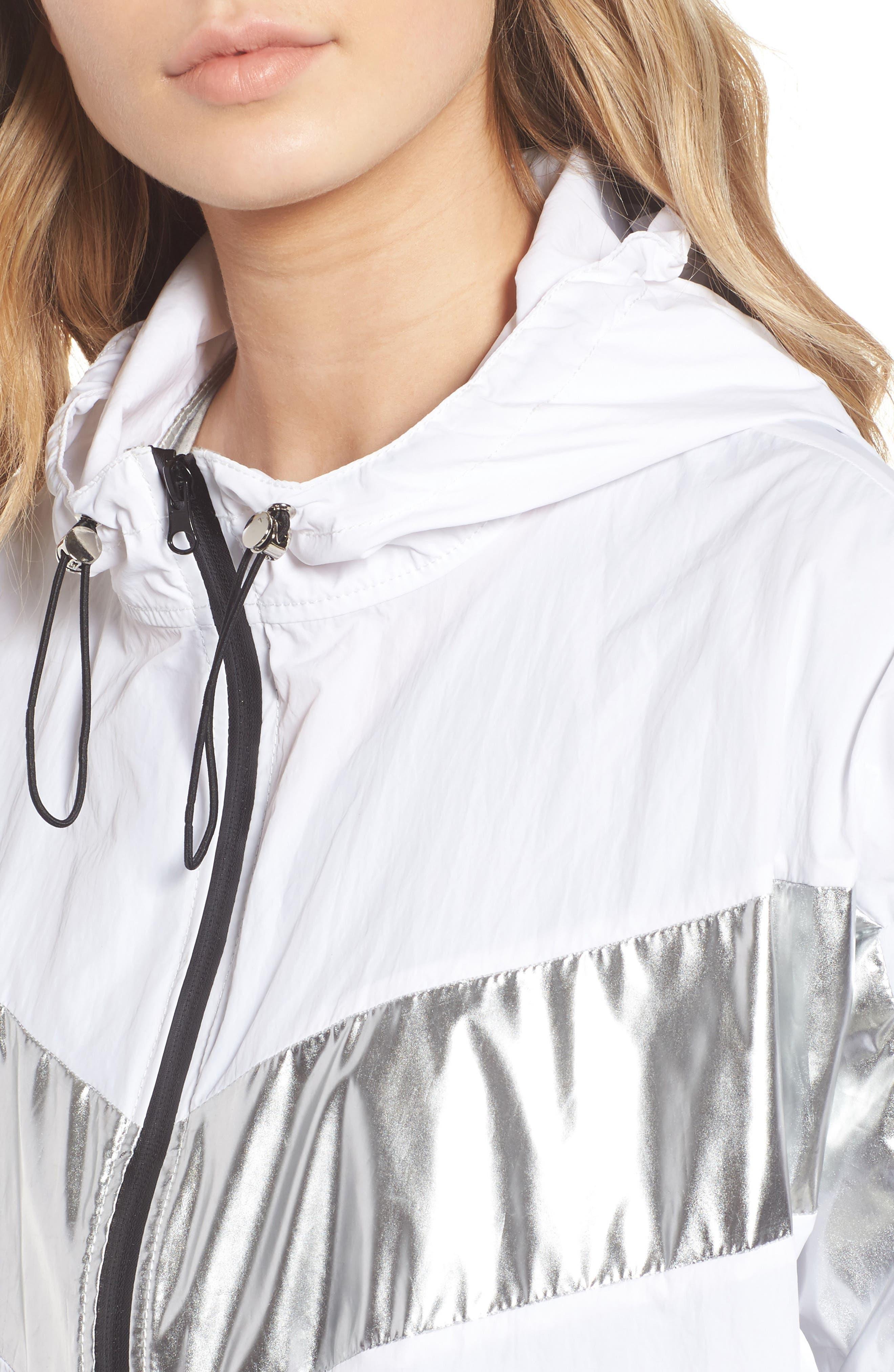 Metallic Stripe Windbreaker Jacket,                             Alternate thumbnail 4, color,