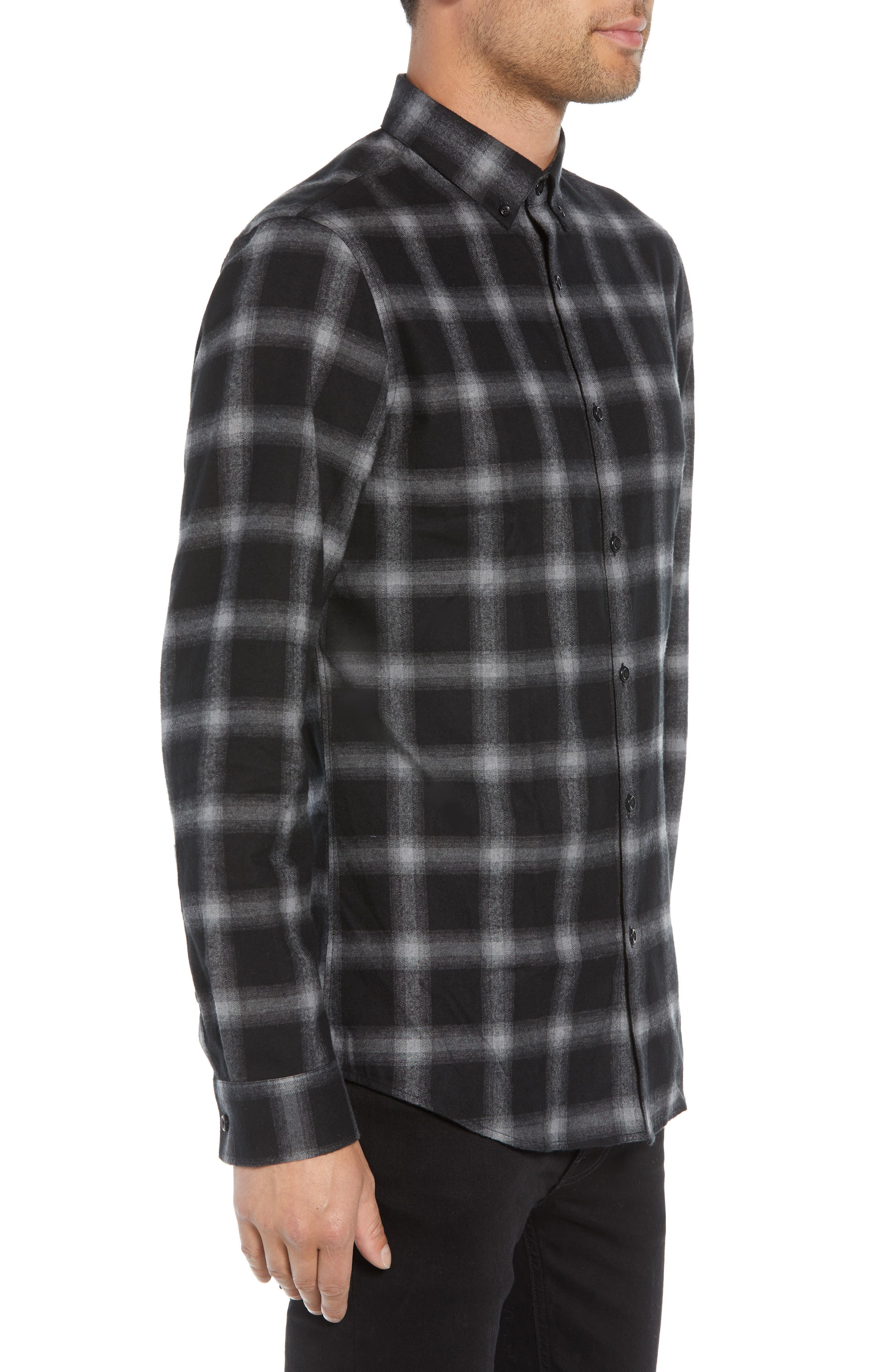 Slim Fit Mini Collar Plaid Flannel Sport Shirt,                             Alternate thumbnail 3, color,                             GREY BLACK SHADOW PLAID