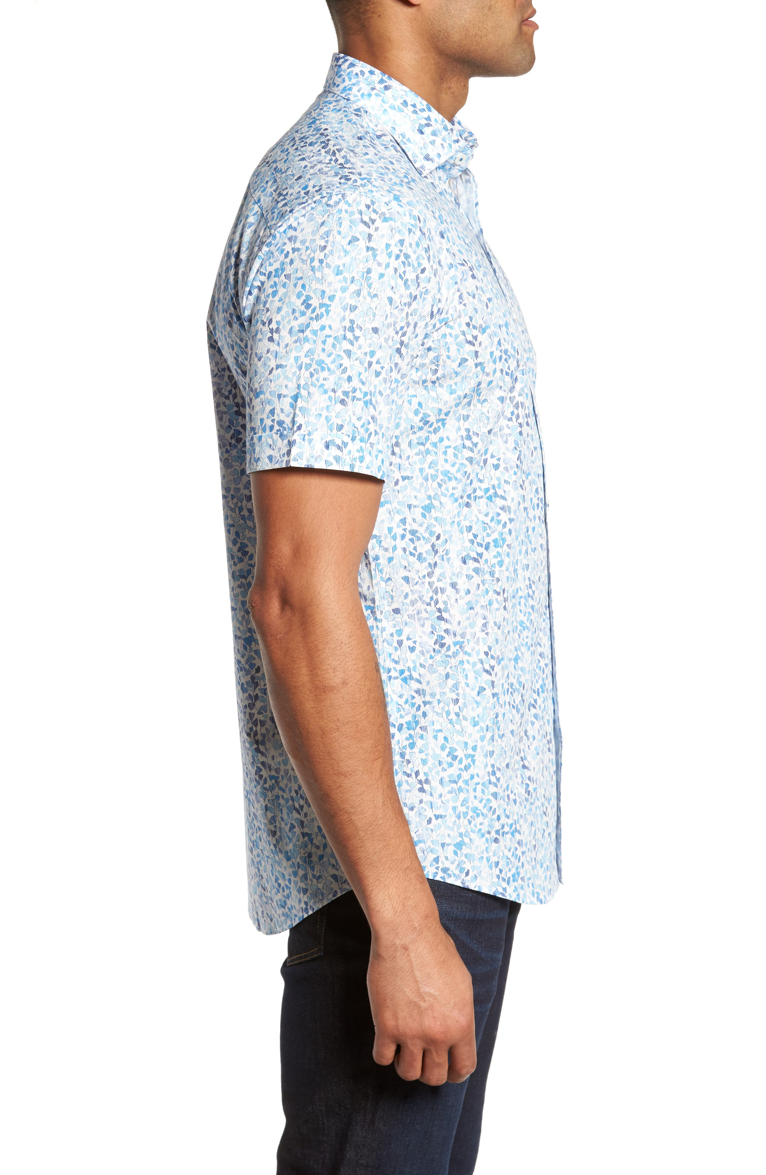 Shaped Fit Print Sport Shirt,                             Alternate thumbnail 3, color,                             422