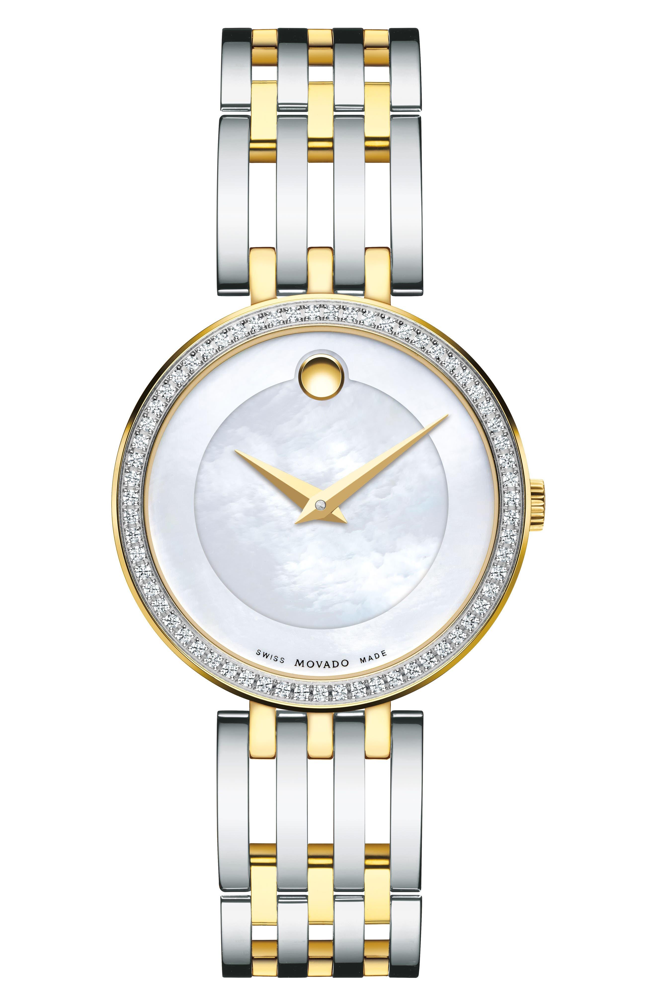 'Esperanza' Diamond Bezel Bracelet Watch, 28mm,                         Main,                         color, SILVER/ MOP/ SILVER
