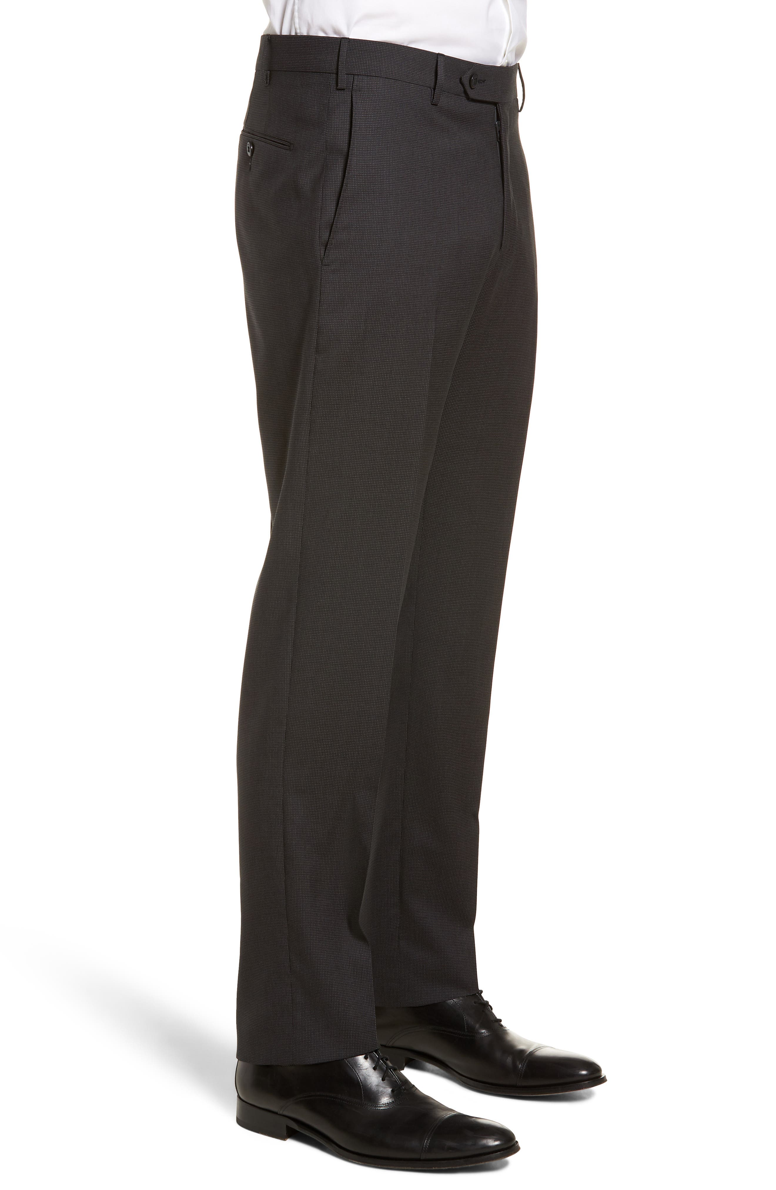 Parker Flat Front Pindot Wool Trousers,                             Alternate thumbnail 3, color,                             020
