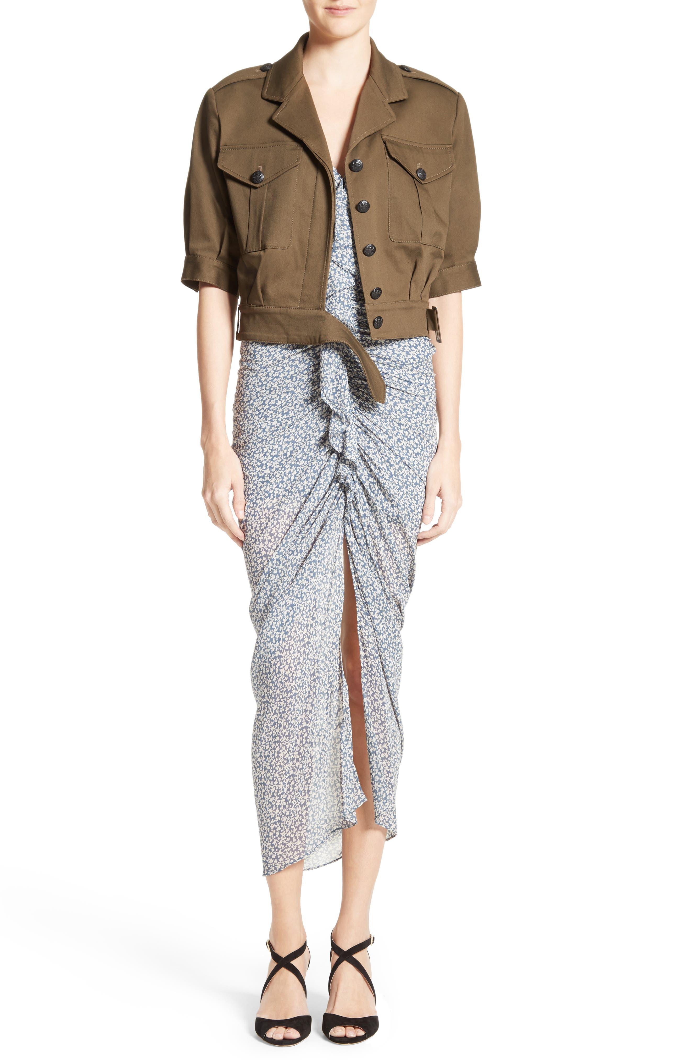 Wallflower Print Silk Strapless Dress,                             Alternate thumbnail 6, color,                             902