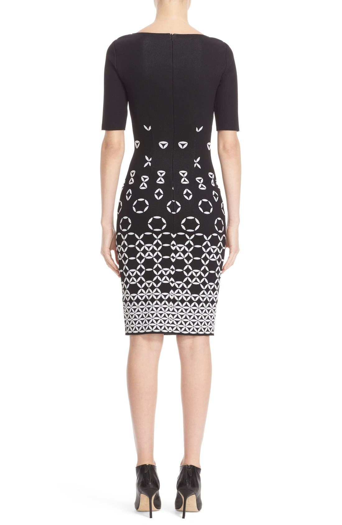 Graphic Knit Sheath Dress,                             Alternate thumbnail 2, color,                             001