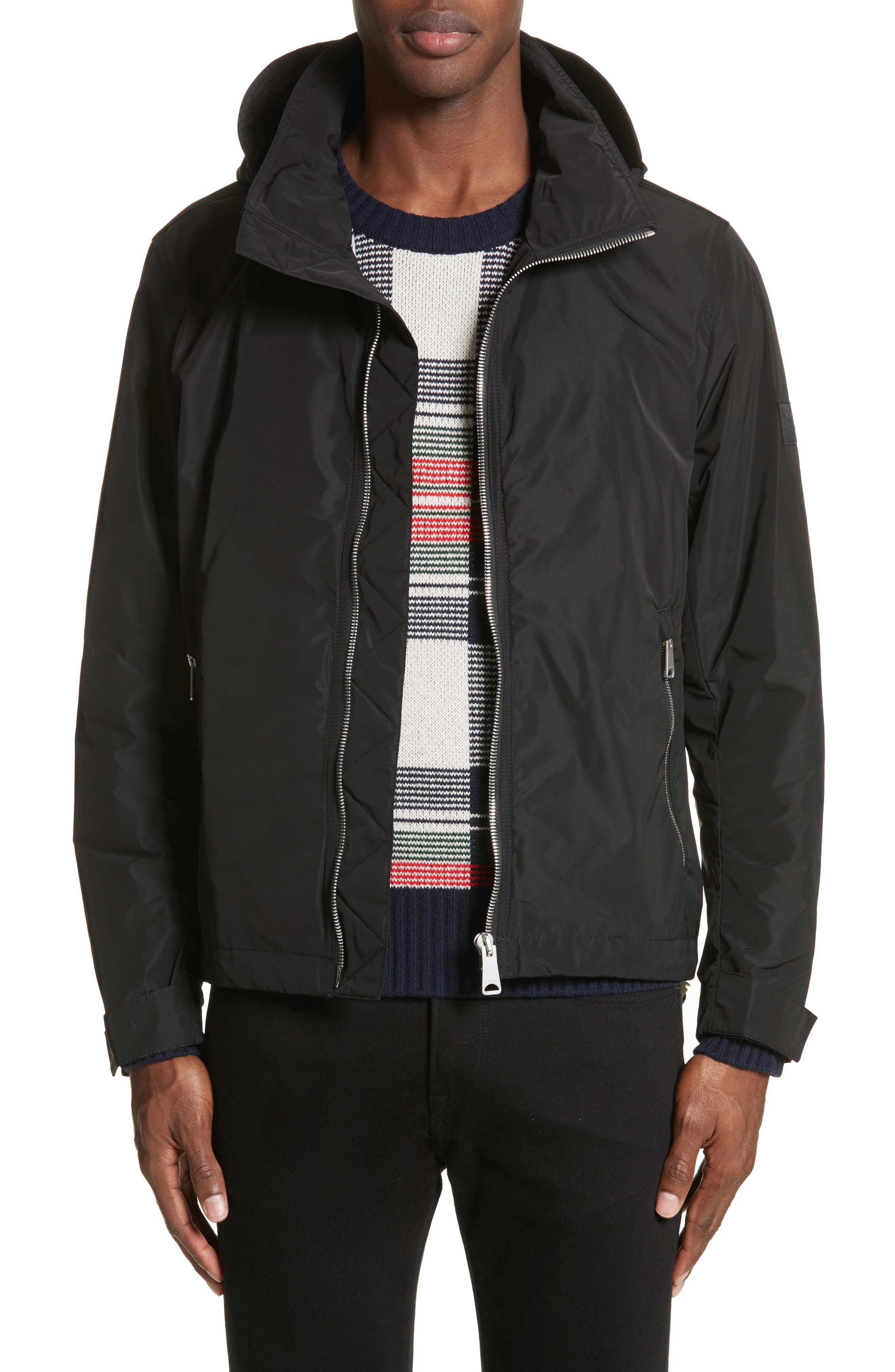 BURBERRY,                             Hedley Stand Collar Jacket,                             Main thumbnail 1, color,                             001