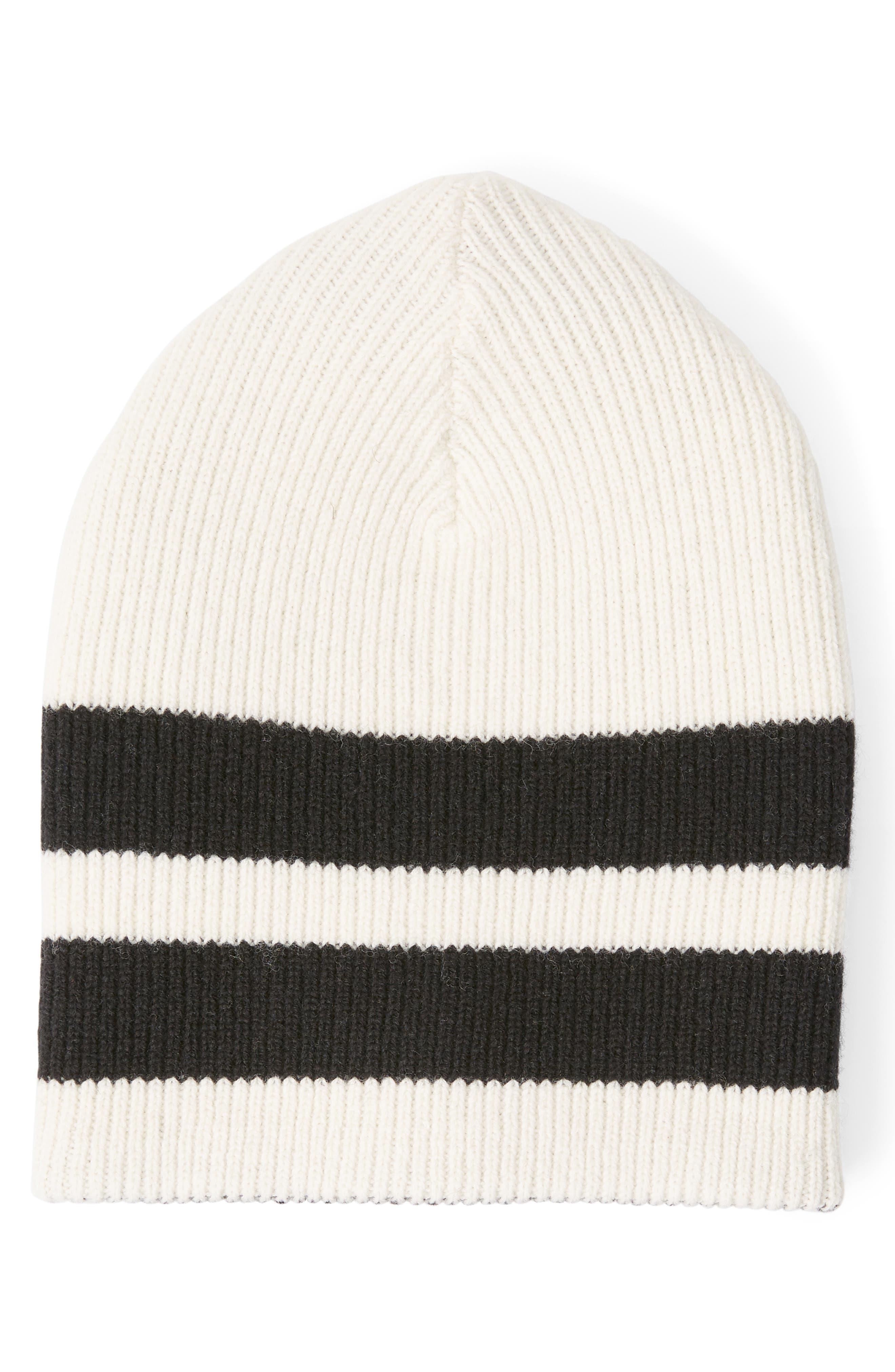Sport Stripe Reversible Merino Wool Beanie, Main, color, 100