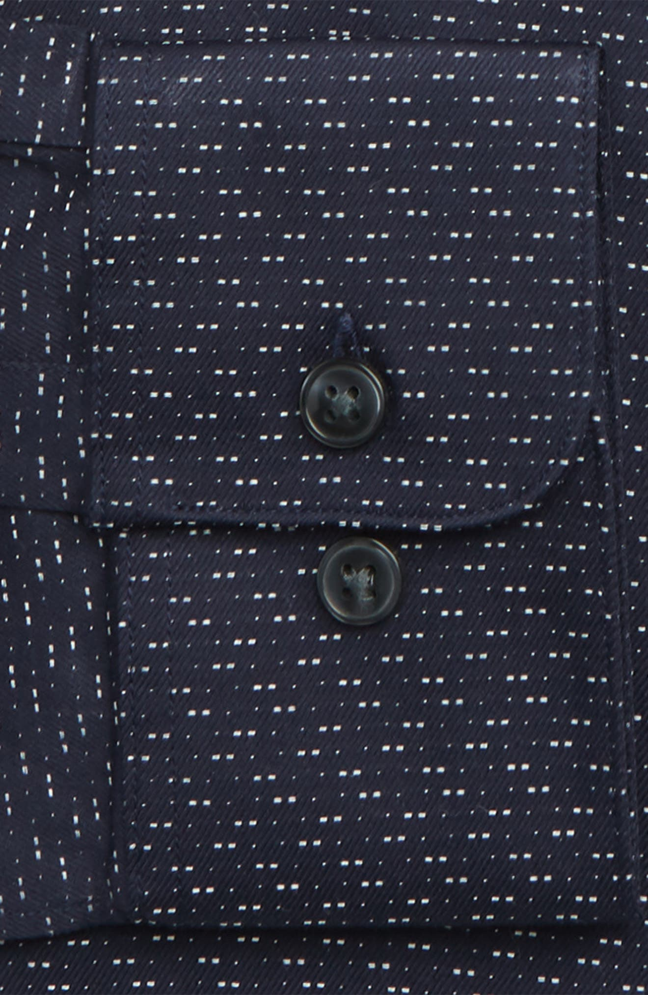 Regular Fit Print Sport Shirt,                             Alternate thumbnail 6, color,                             INDIGO