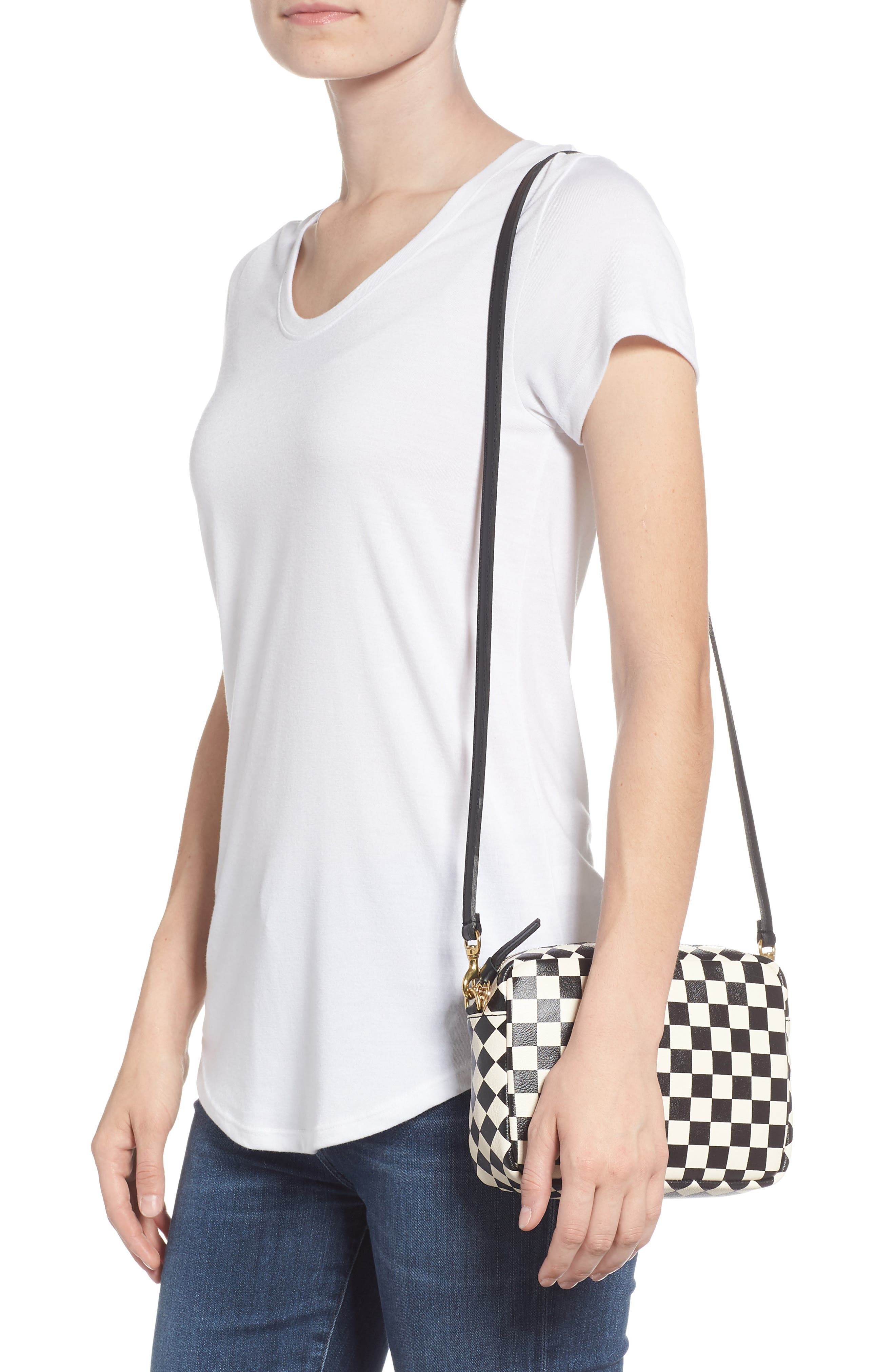 Midi Sac Check Leather Shoulder Bag,                             Alternate thumbnail 2, color,                             CREAM/ BLACK CHECKERS
