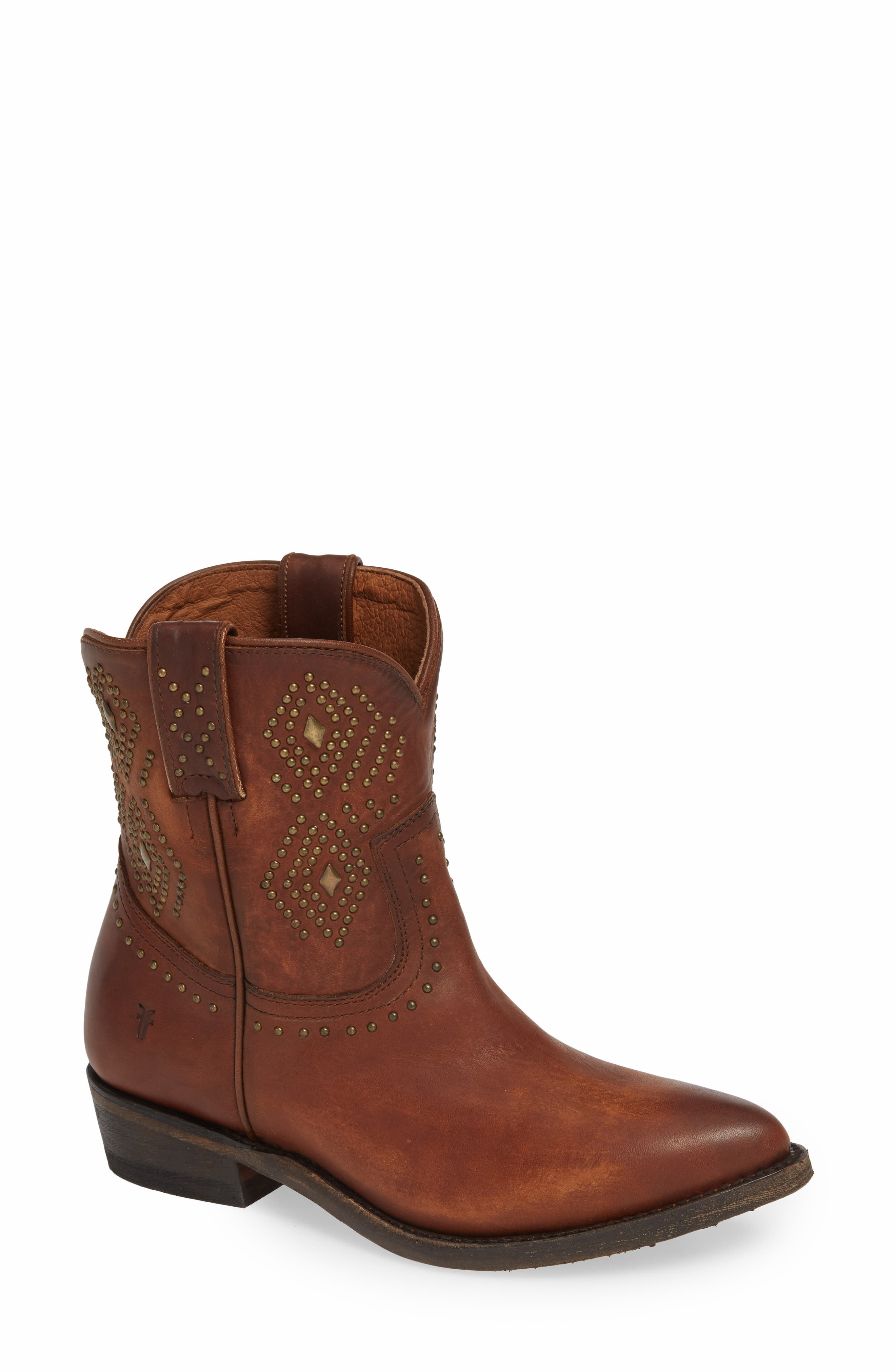 Frye Billy Stud Short Western Boot, Brown