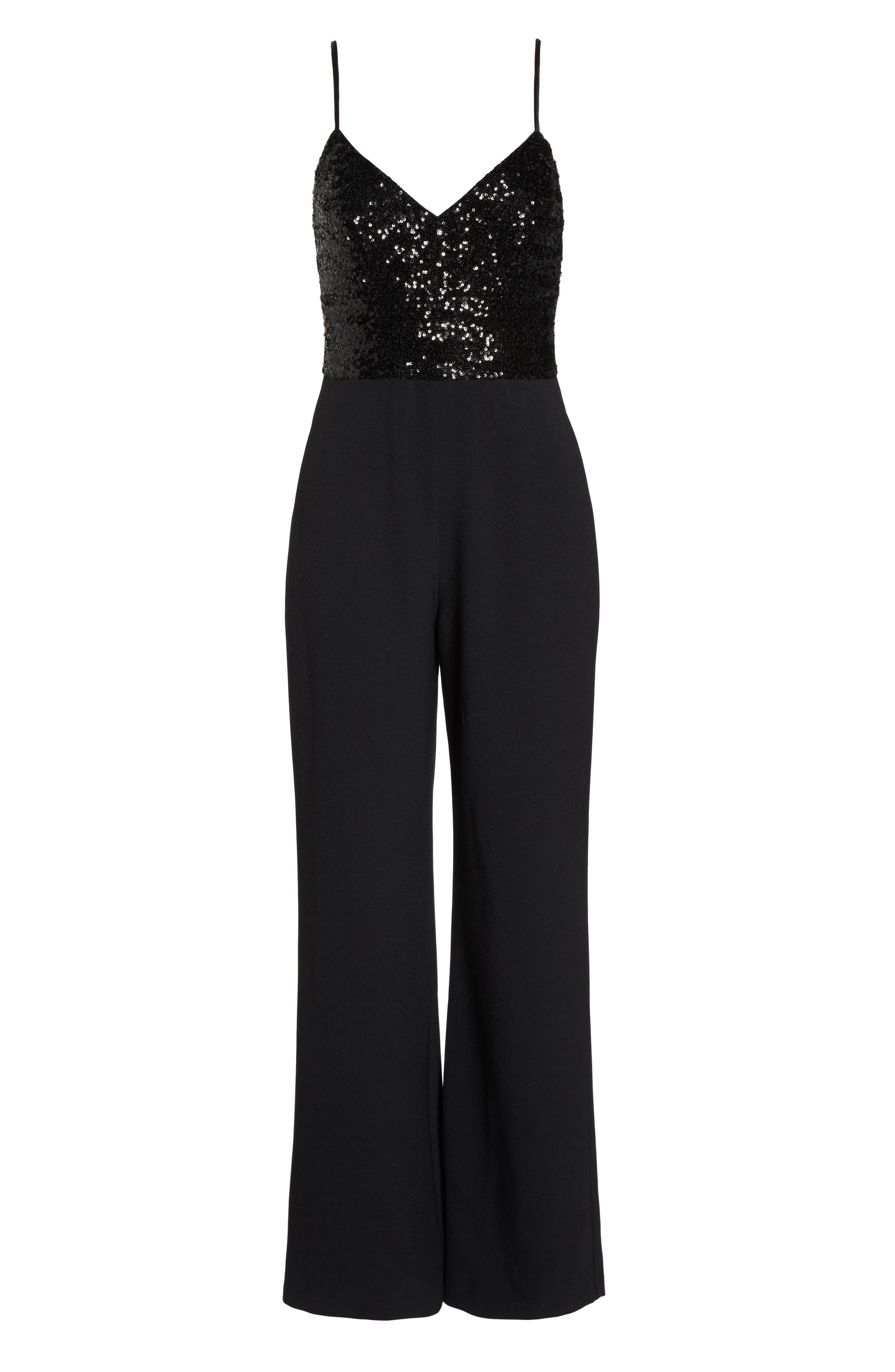 Sequin Embellished Jumpsuit,                             Alternate thumbnail 7, color,                             BLACK