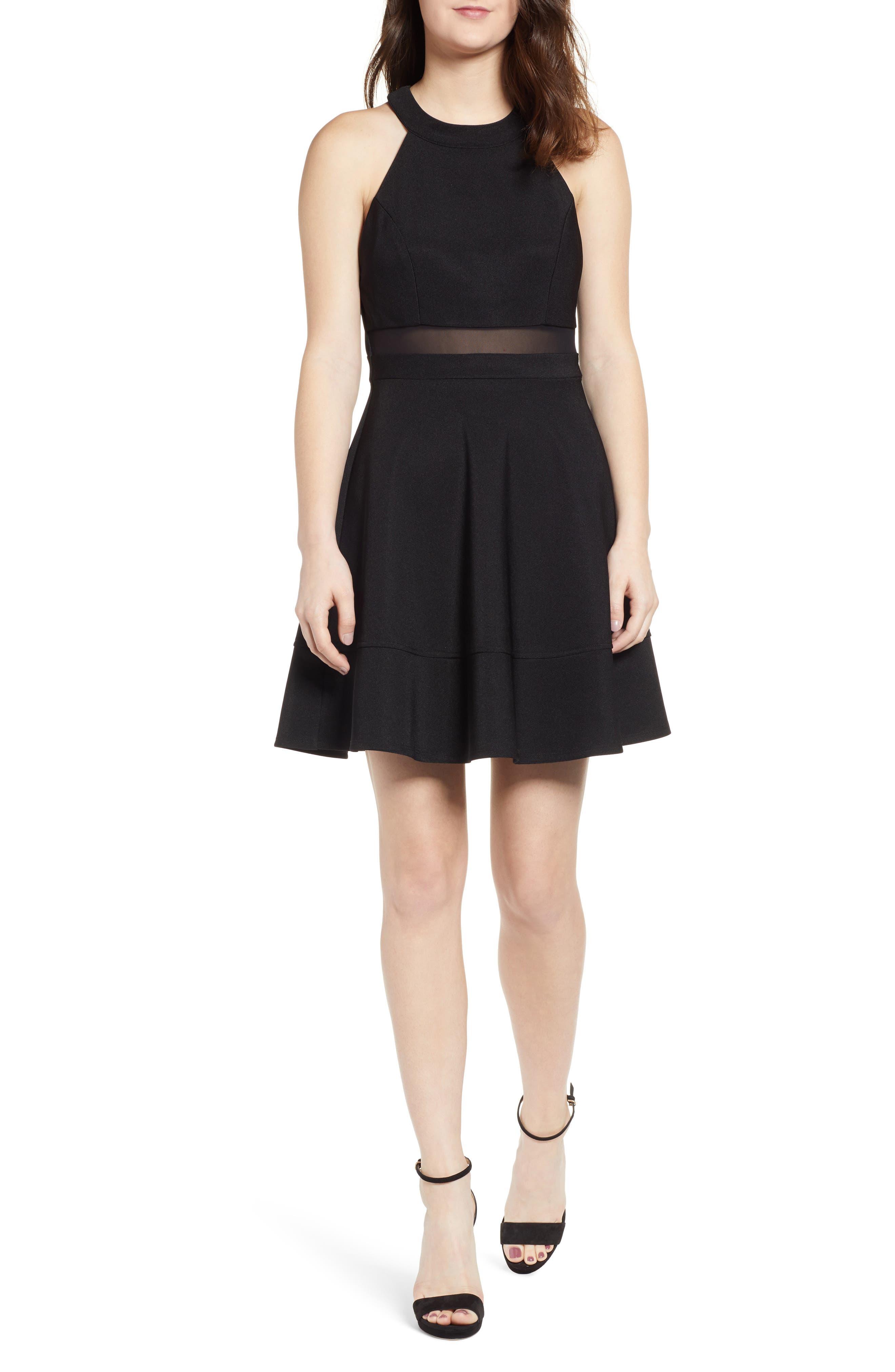 LOVE, NICKIE LEW Love, Nicki Lew Halter Neck Skater Dress, Main, color, BLACK