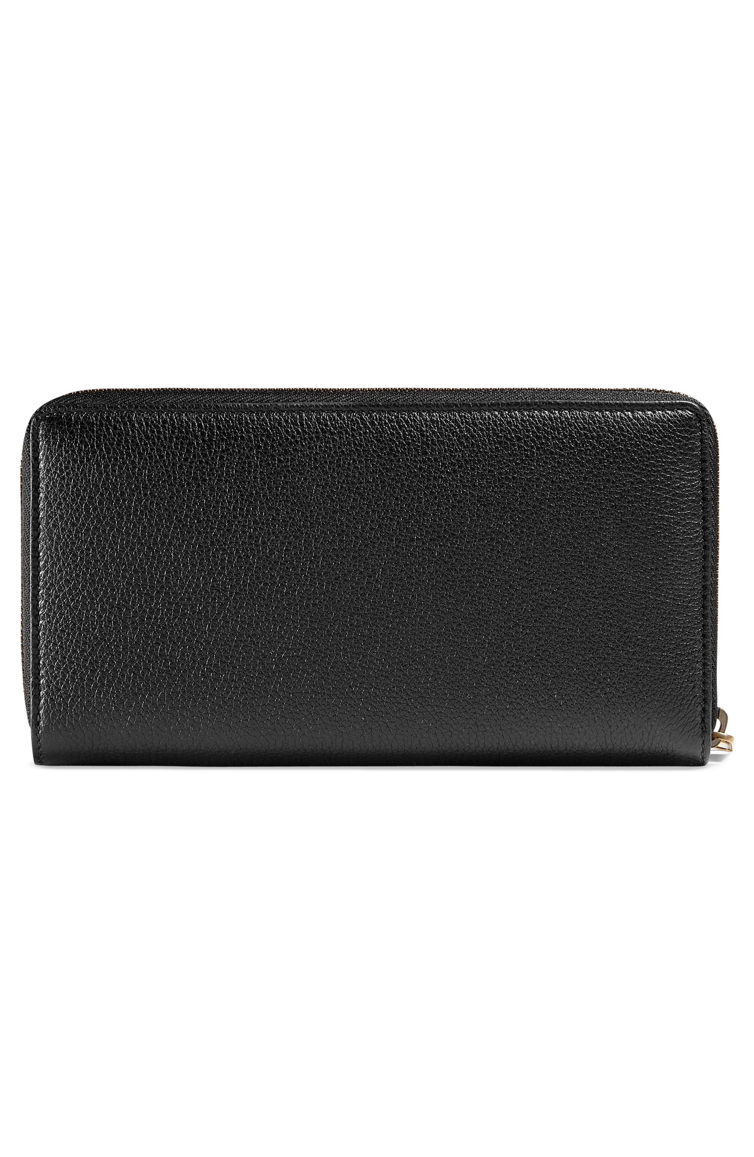 Logo Leather Zip-Around Wallet,                             Alternate thumbnail 3, color,                             001