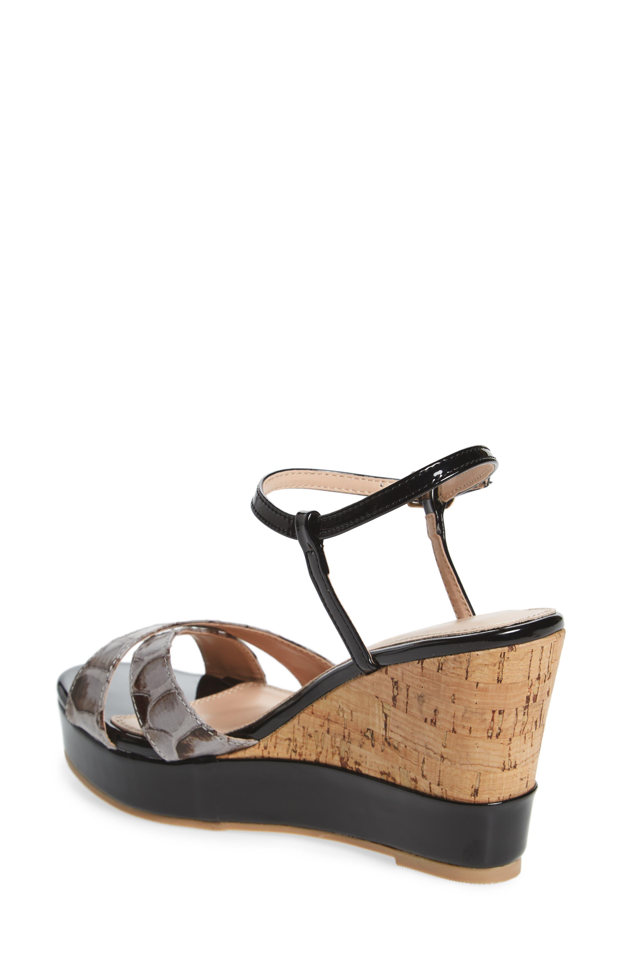 Lottie Platform Wedge Sandal,                             Alternate thumbnail 2, color,                             BLACK SYNTHETIC