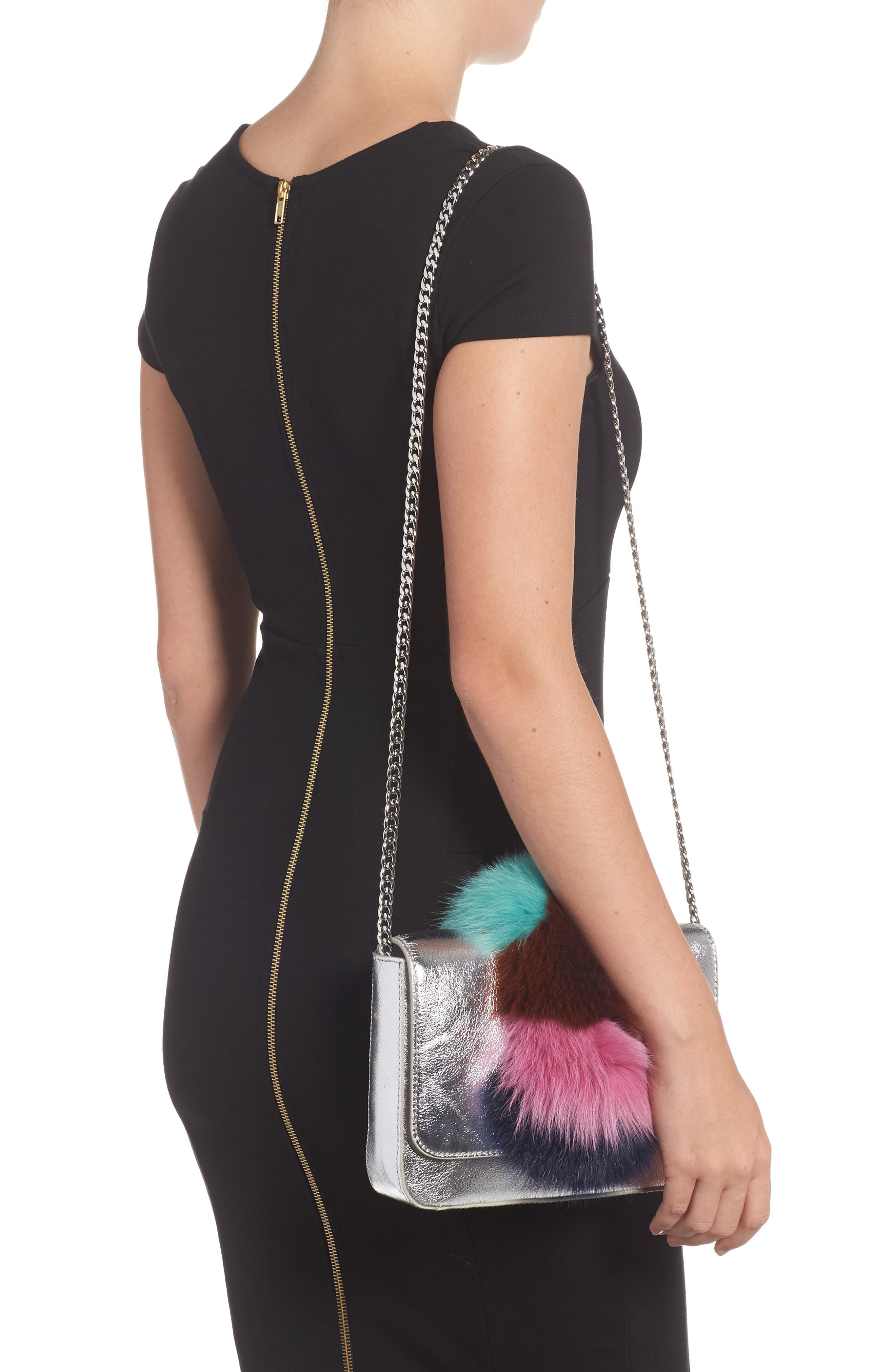 Lock Genuine Fox Fur Shoulder Bag,                             Alternate thumbnail 2, color,                             049