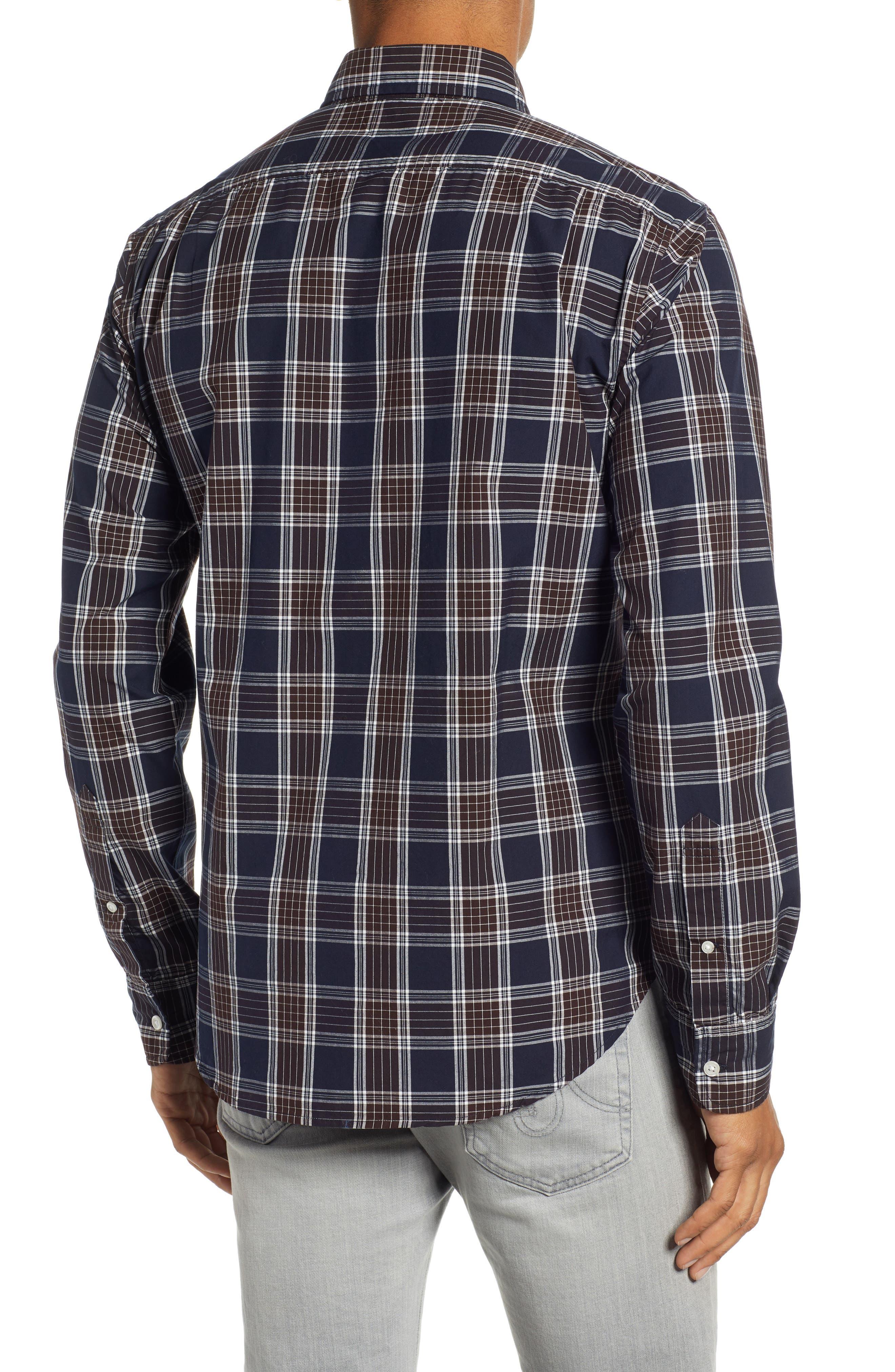 Washed Slim Fit Plaid Sport Shirt,                             Alternate thumbnail 3, color,                             HAWN LAKE PLAID - CEDAR SHAKES