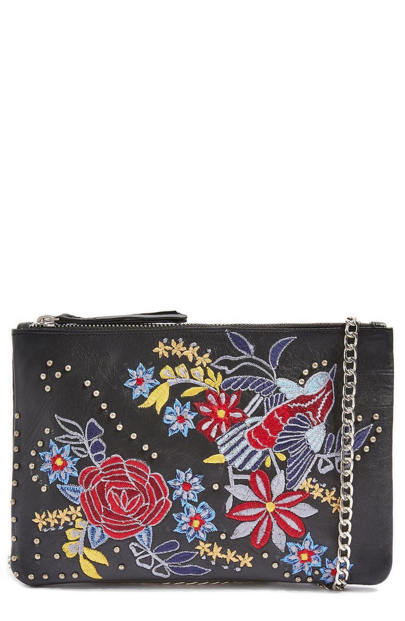 Ester Embroidered Leather Shoulder Bag,                         Main,                         color, 001