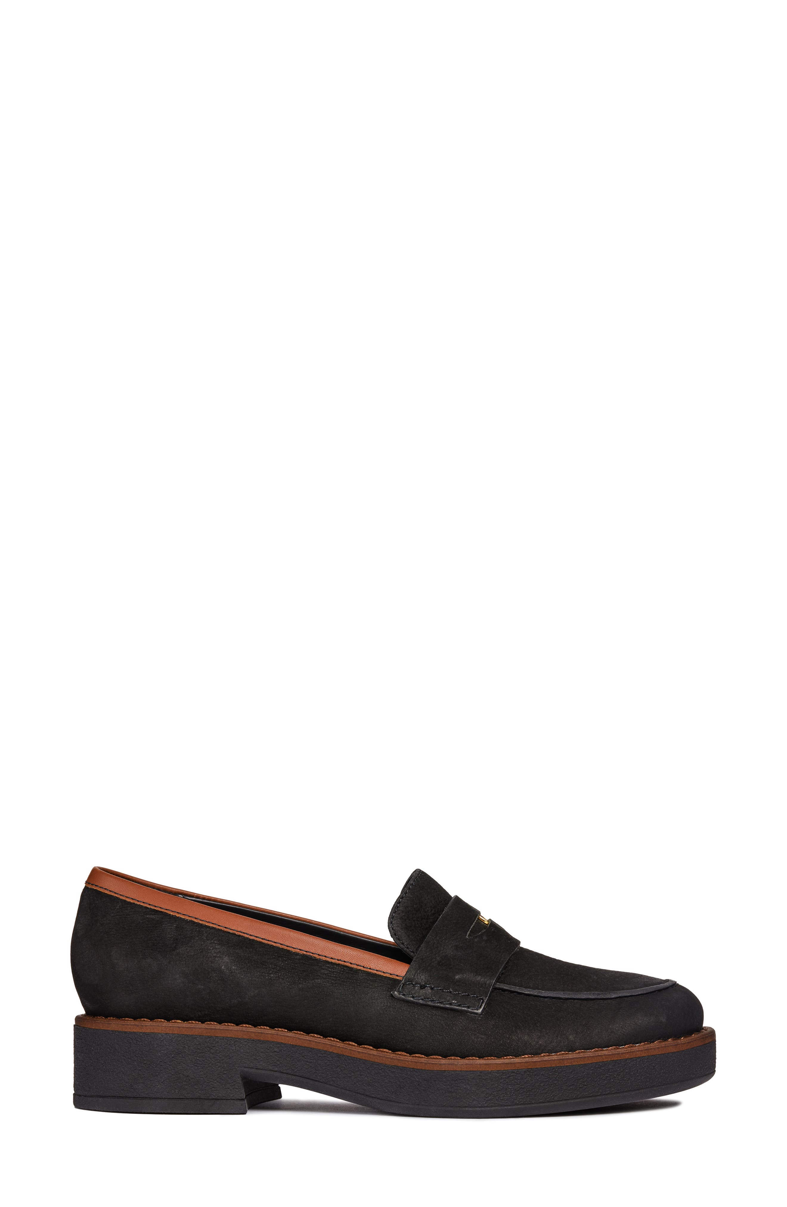Adrya Loafer,                             Alternate thumbnail 3, color,                             BLACK/ BROWN NUBUCK LEATHER