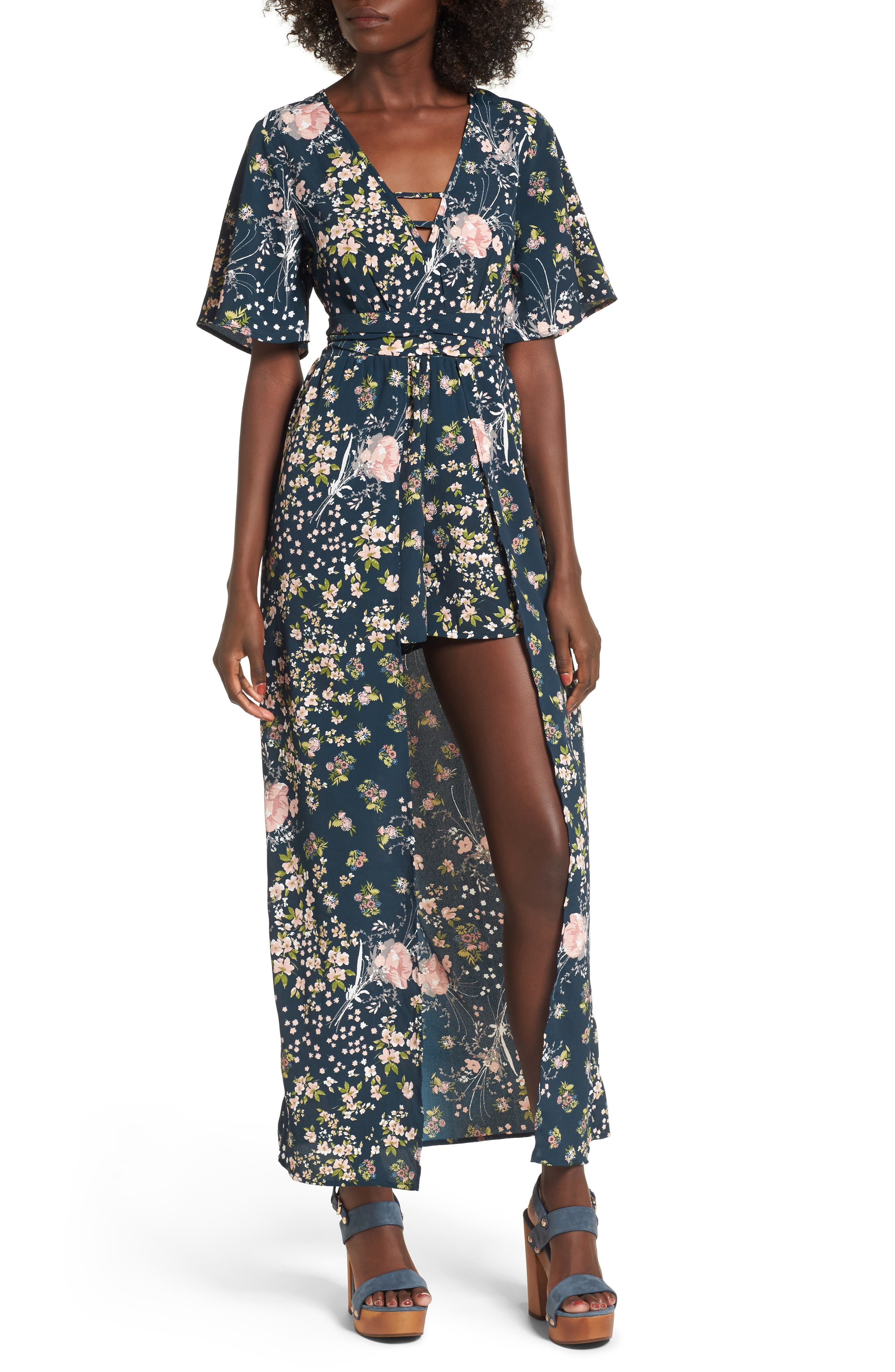 Moody Floral Print Maxi Romper,                         Main,                         color,