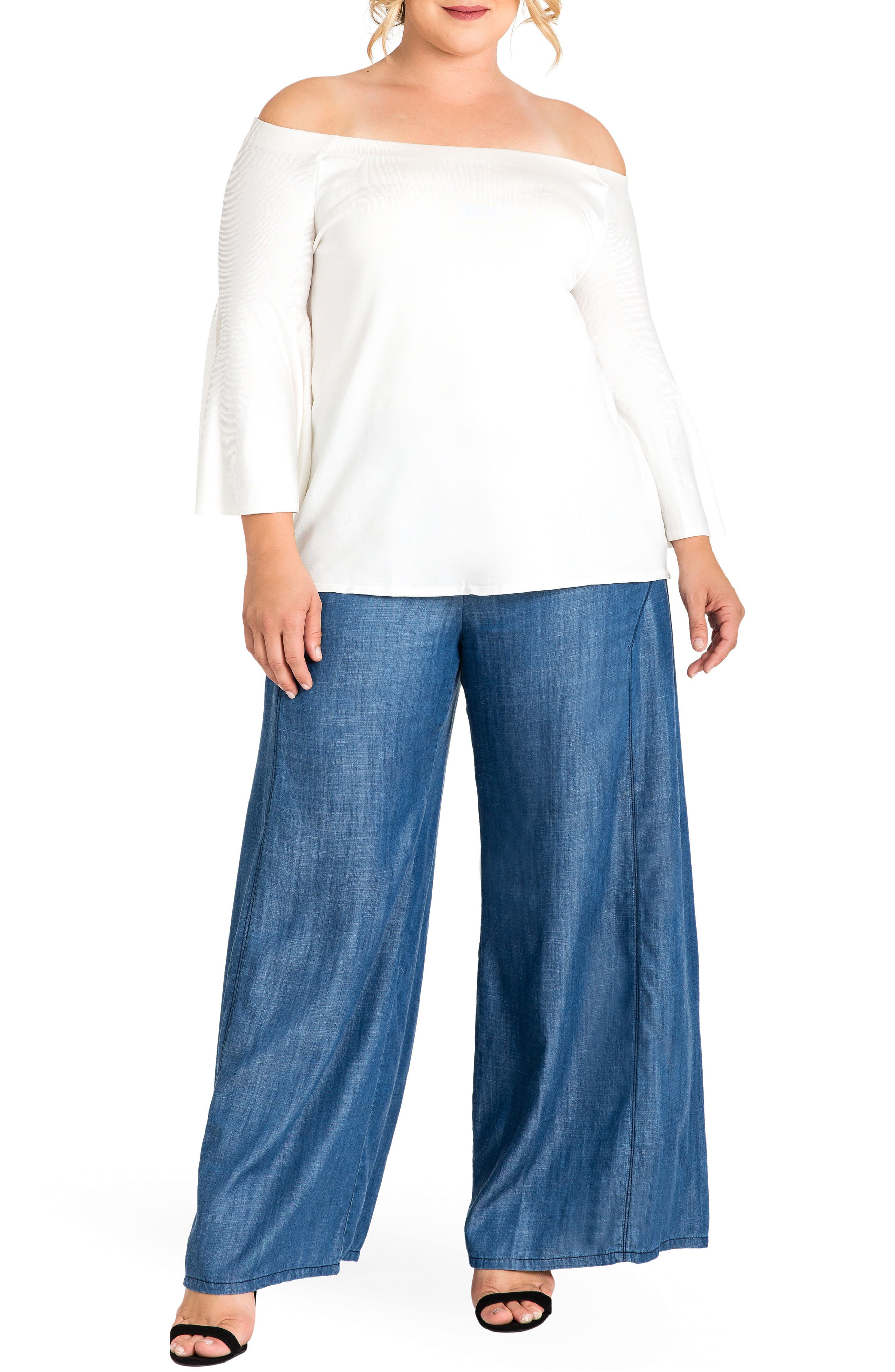 STANDARDS & PRACTICES,                             Perry Tencel<sup>®</sup> Denim Palazzo Pants,                             Alternate thumbnail 4, color,                             ALMOST RINSED