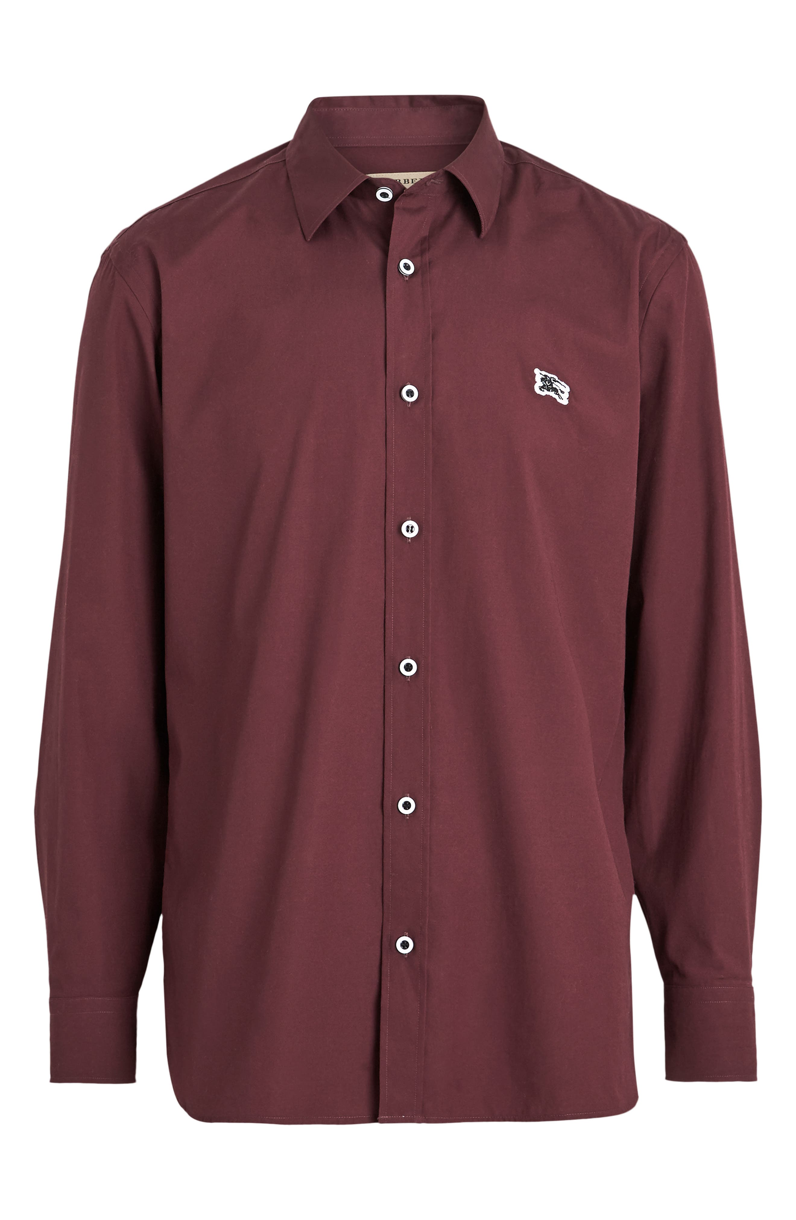 BURBERRY,                             William Sport Shirt,                             Alternate thumbnail 4, color,                             OXBLOOD