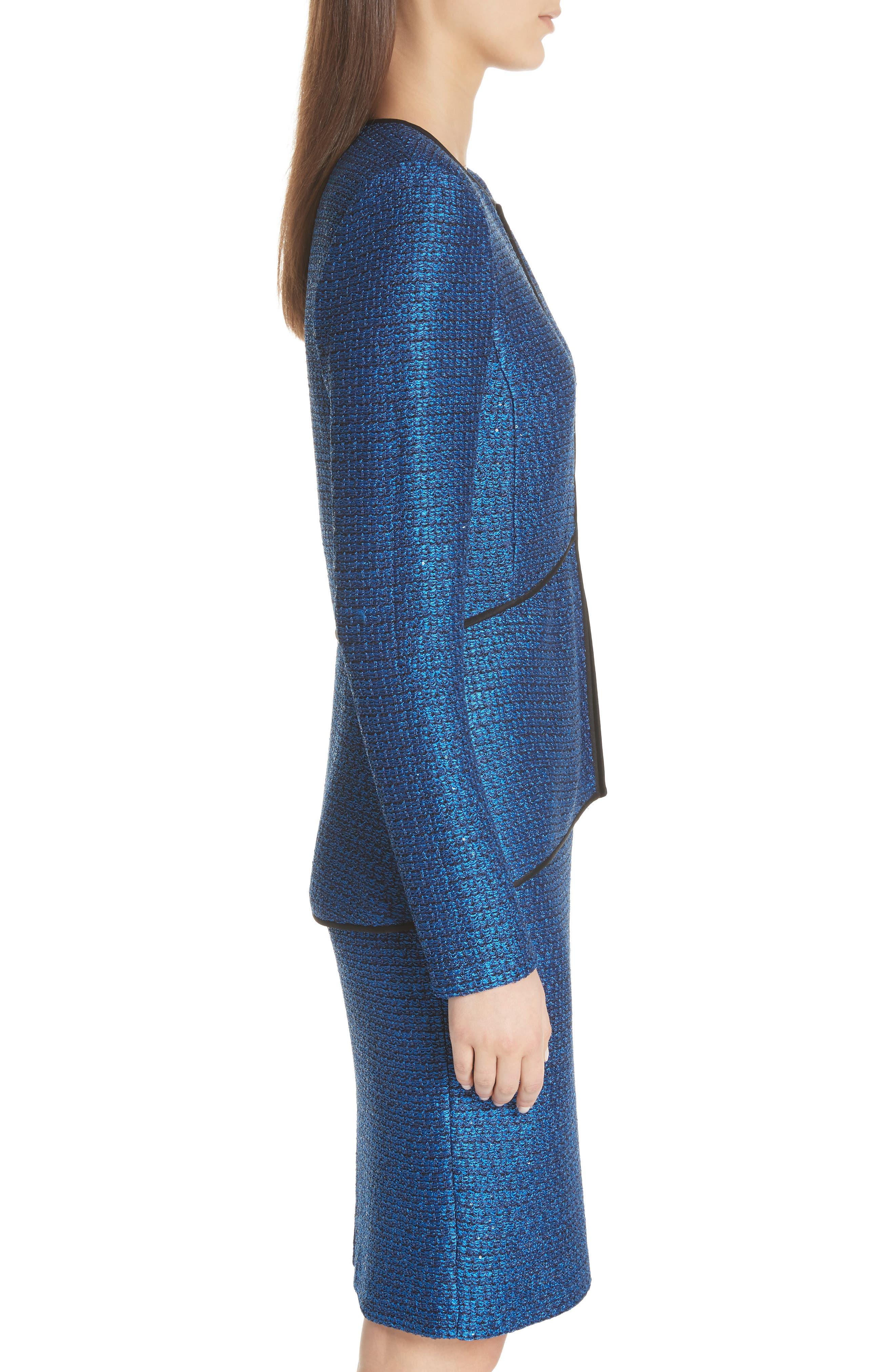Luster Sequin Knit Jacket,                             Alternate thumbnail 3, color,                             COBALT MULTI