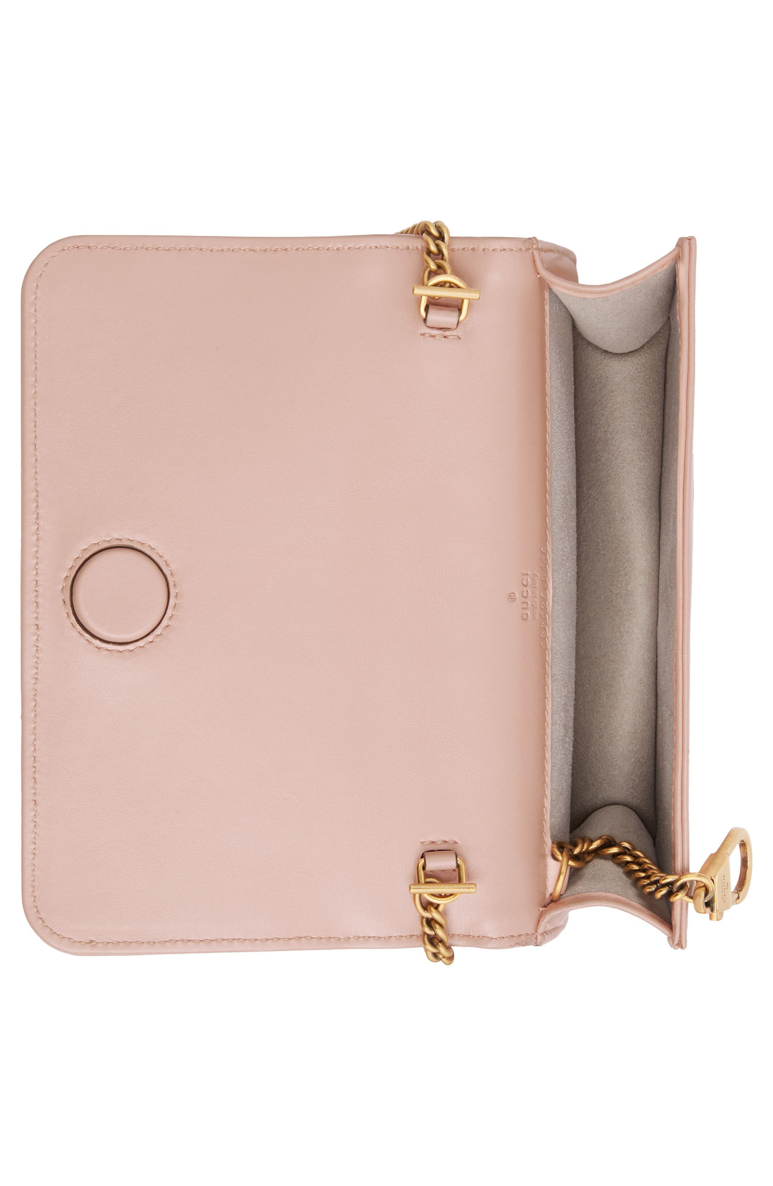 Marmont 2.0 Leather Shoulder Bag,                             Alternate thumbnail 3, color,                             PERFECT PINK