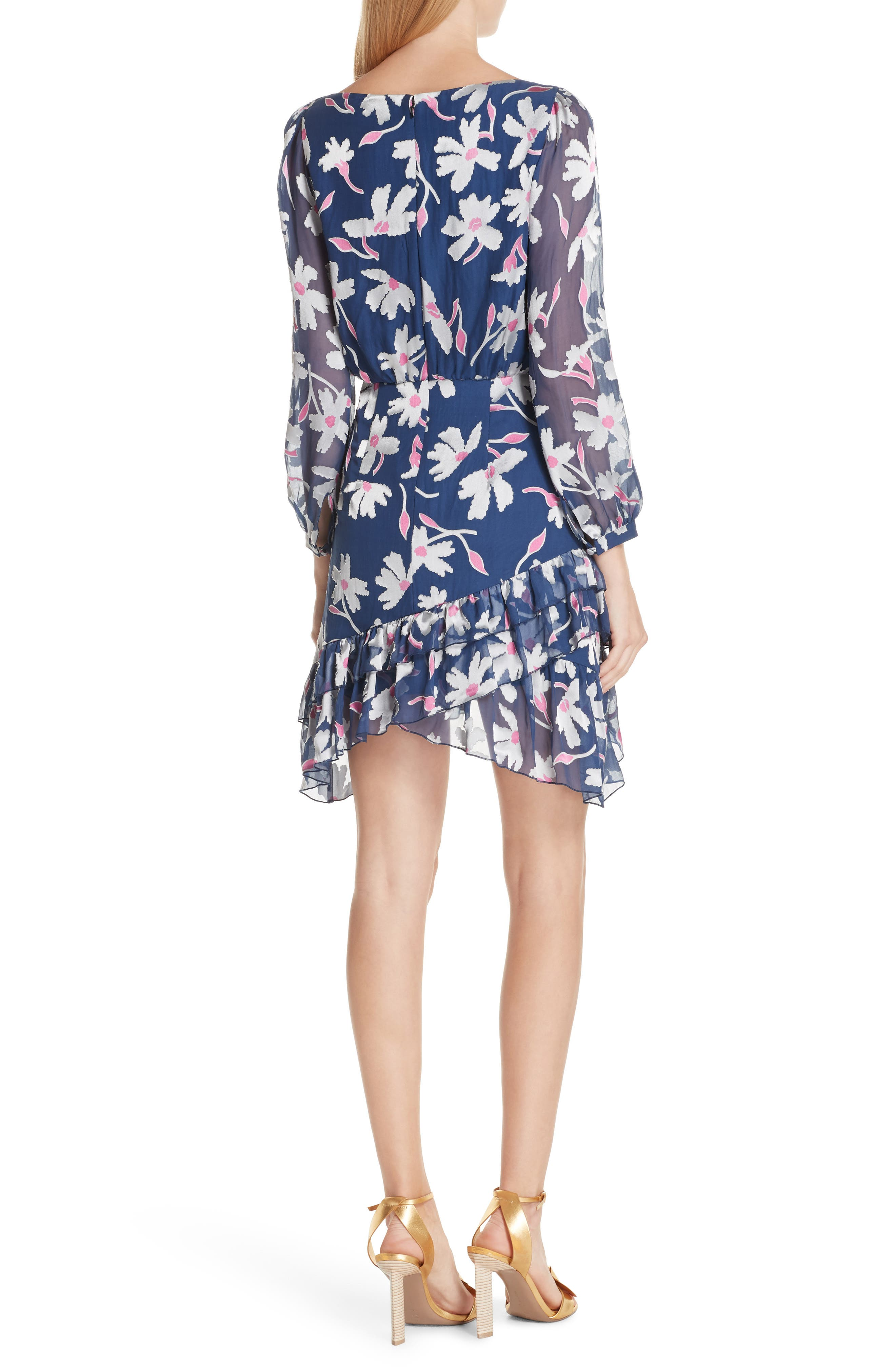 Felicia Asymmetrical Silk Blend Dress,                             Alternate thumbnail 2, color,                             WATER DAISIES