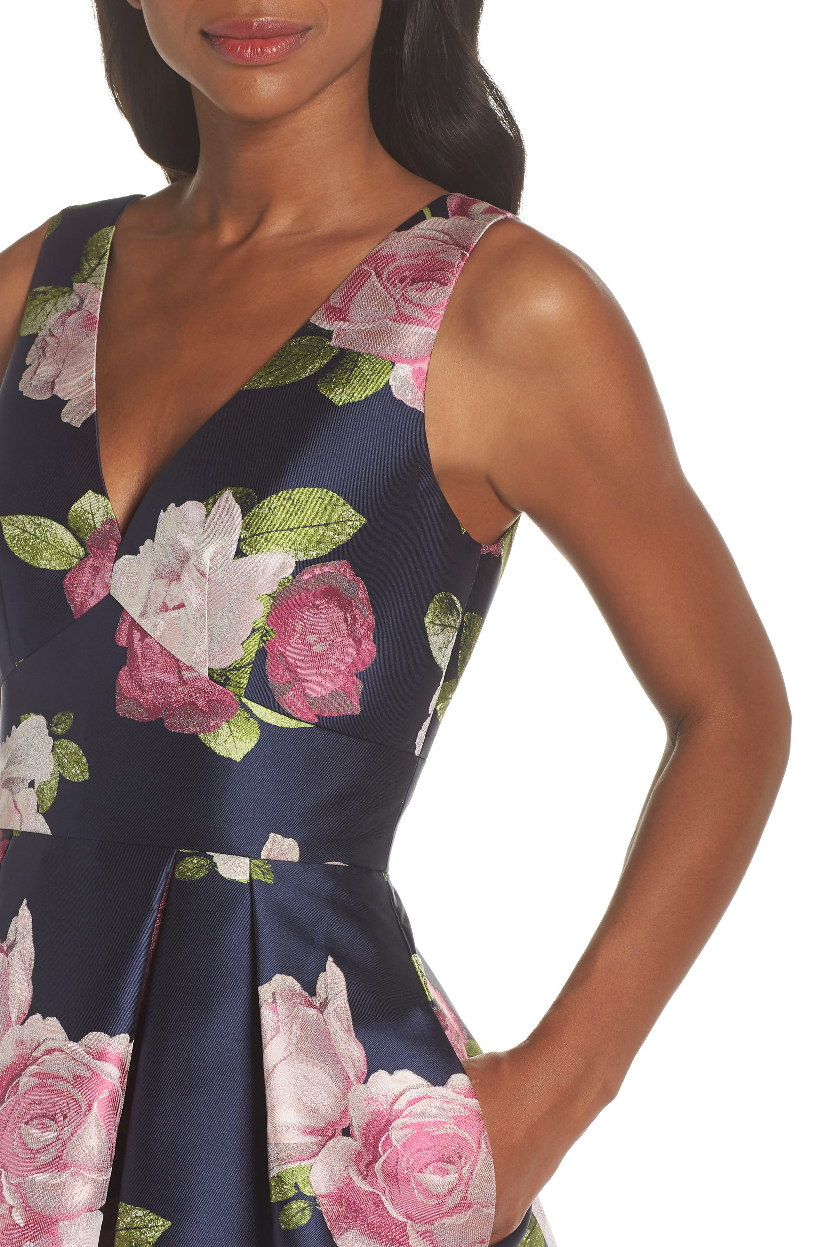 Sleeveless Floral Print Fit & Flare Dress,                             Alternate thumbnail 4, color,                             NAVY