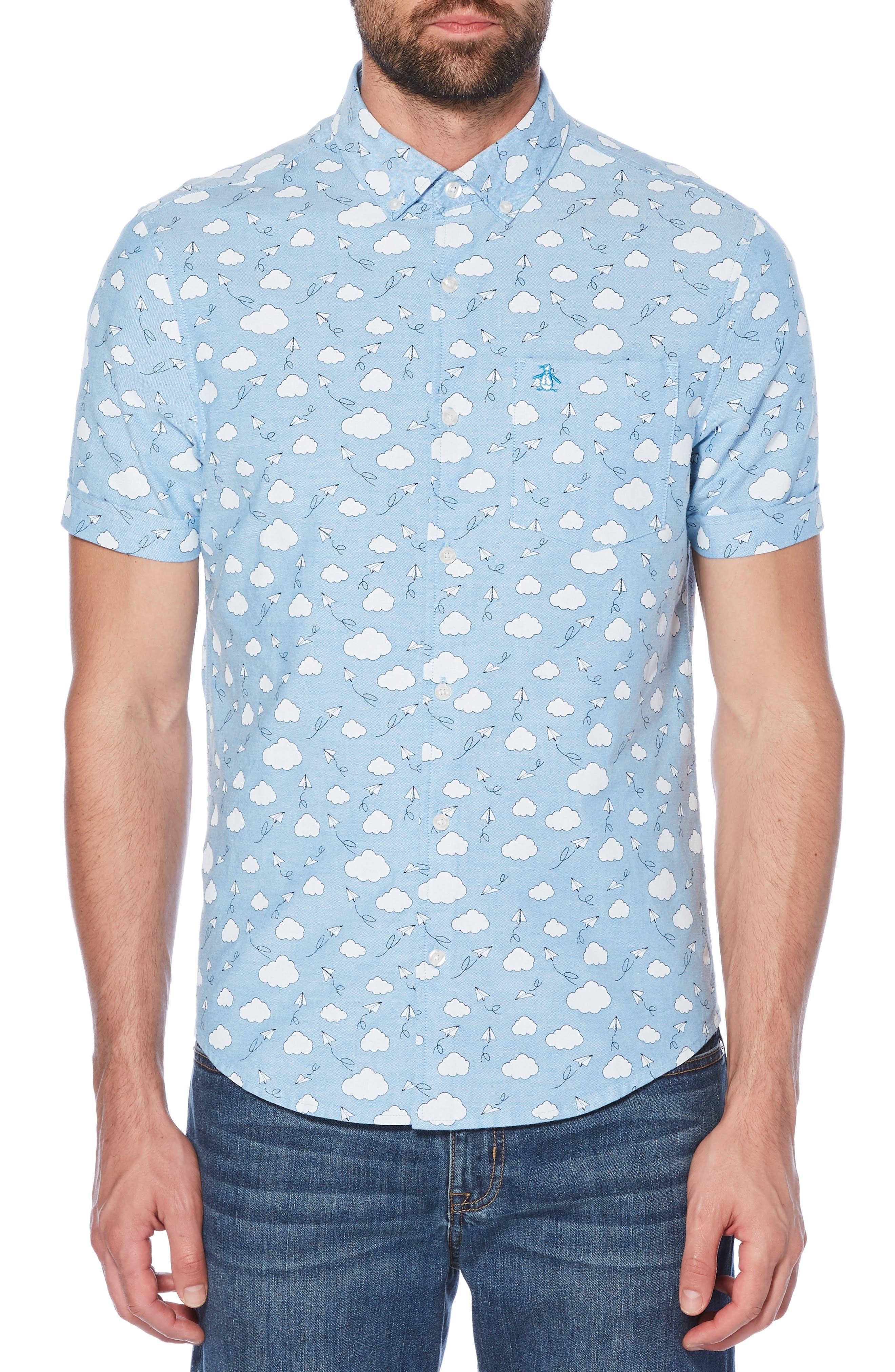 Cloud Print Oxford Shirt,                             Main thumbnail 1, color,                             DIVA BLUE