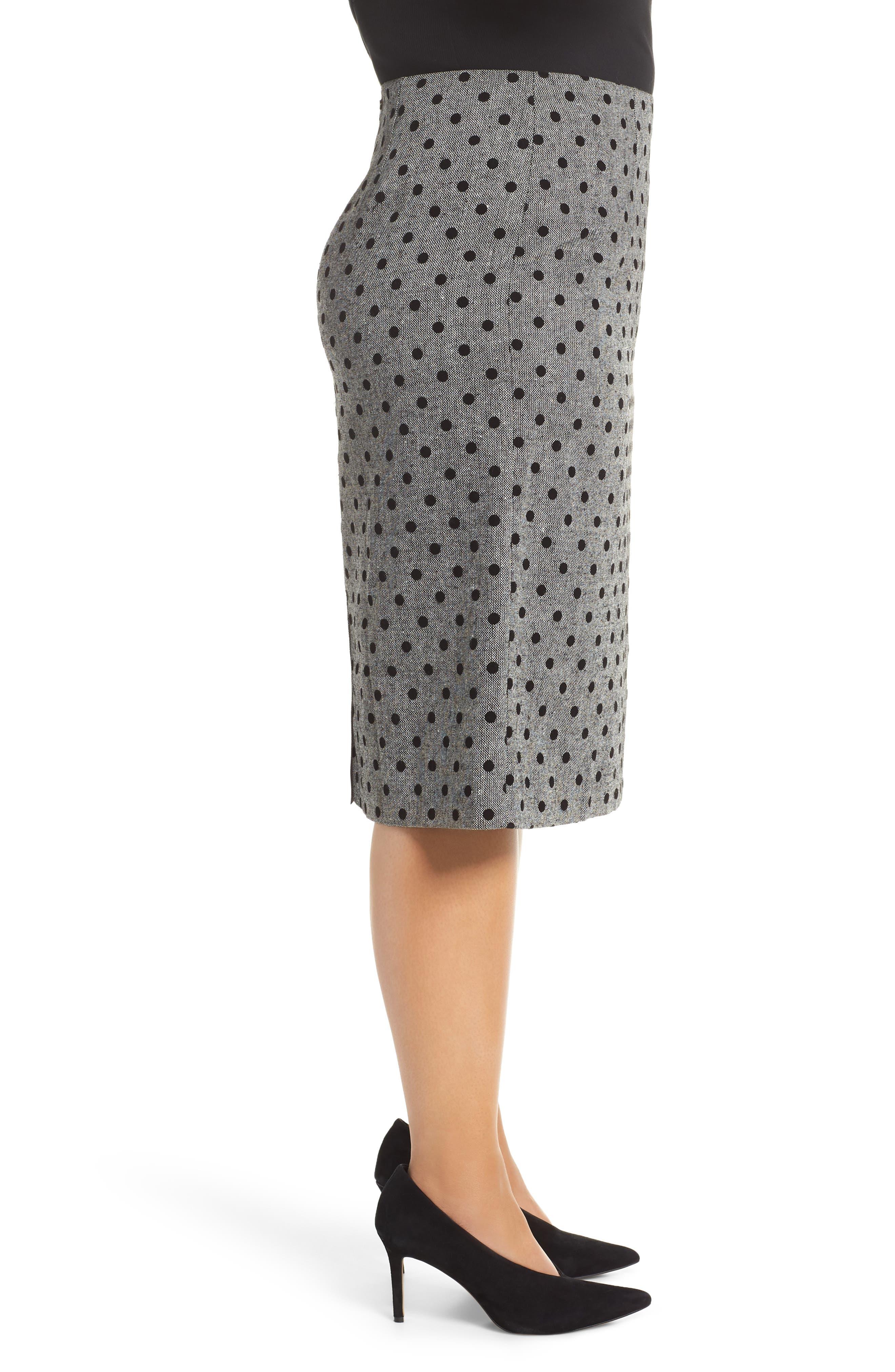 Dot Pencil Skirt,                             Alternate thumbnail 3, color,                             030