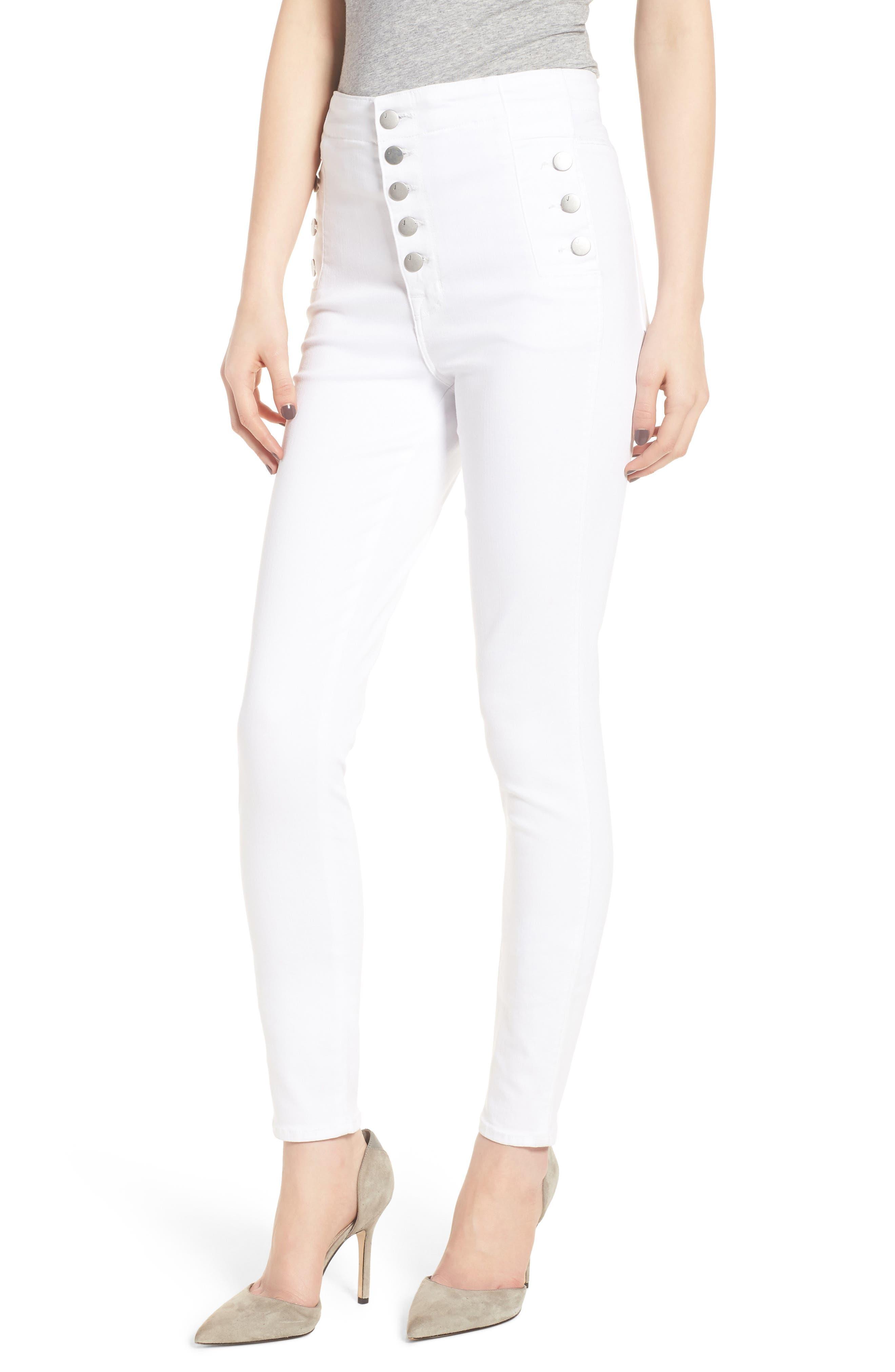 Natasha Sky High Super Skinny Jeans,                             Main thumbnail 1, color,                             WHITE